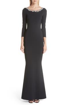 Black Petite Robe Longina Trumpet Gown