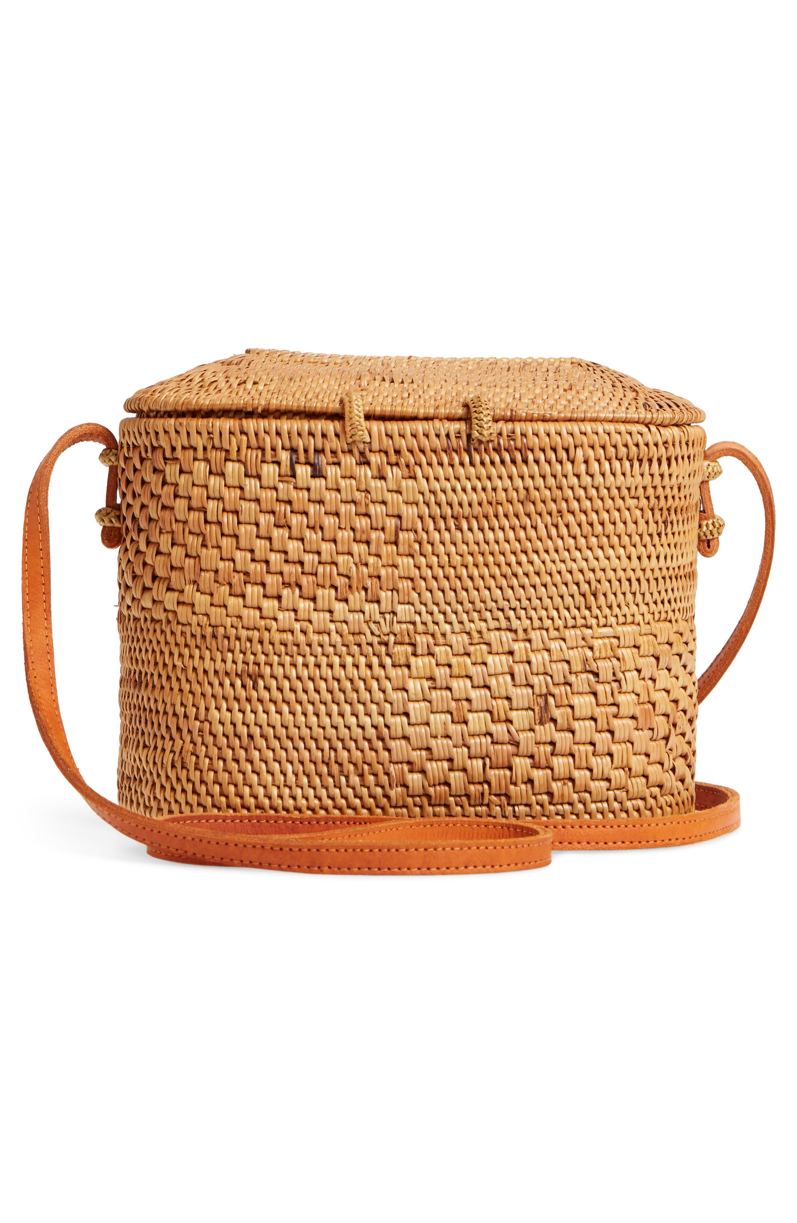Woven Rattan Box Crossbody Bag,                             Alternate thumbnail 3, color,                             Tan