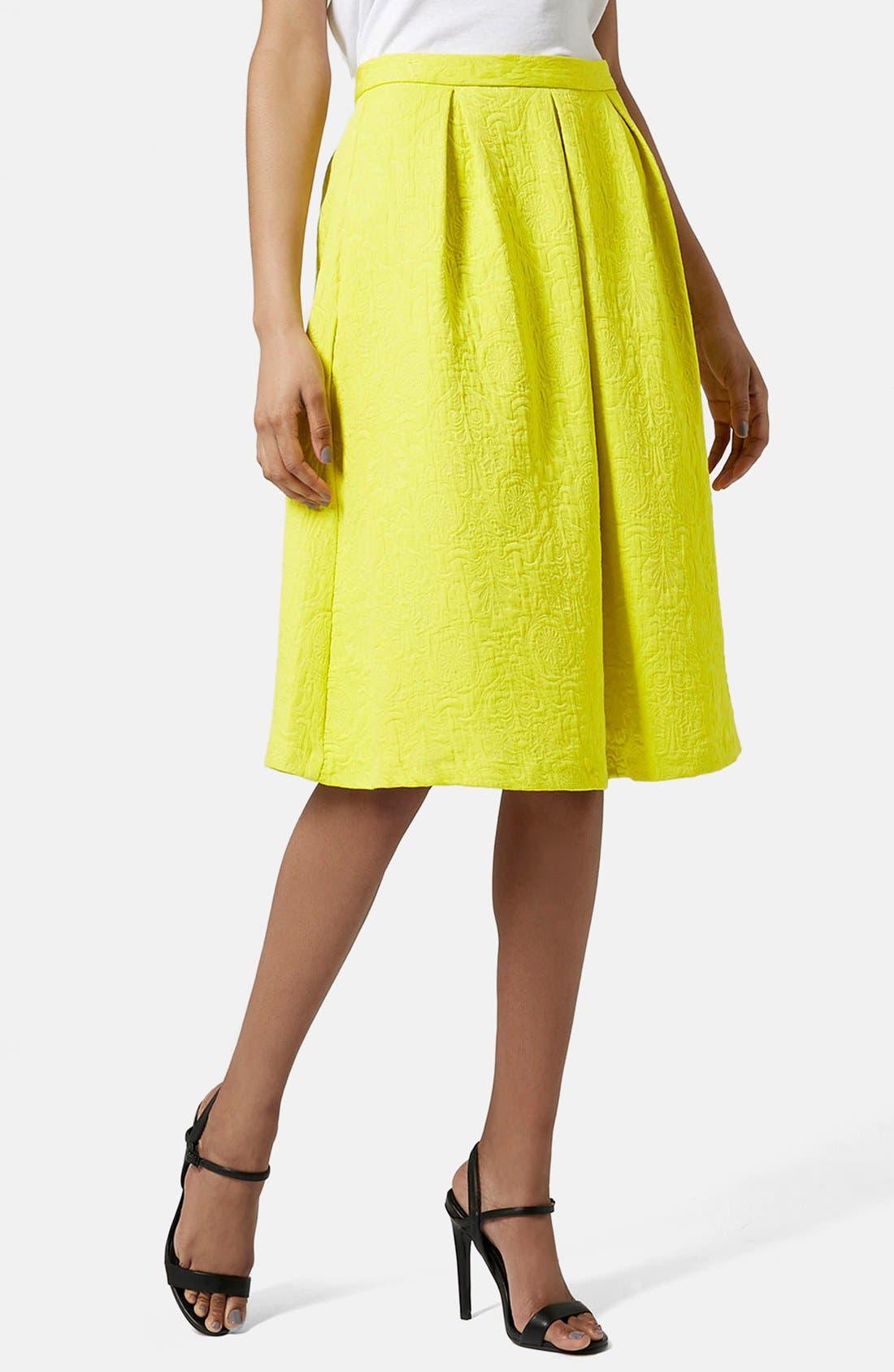 Pleated Jacquard Midi Skirt,                         Main,                         color, Yellow