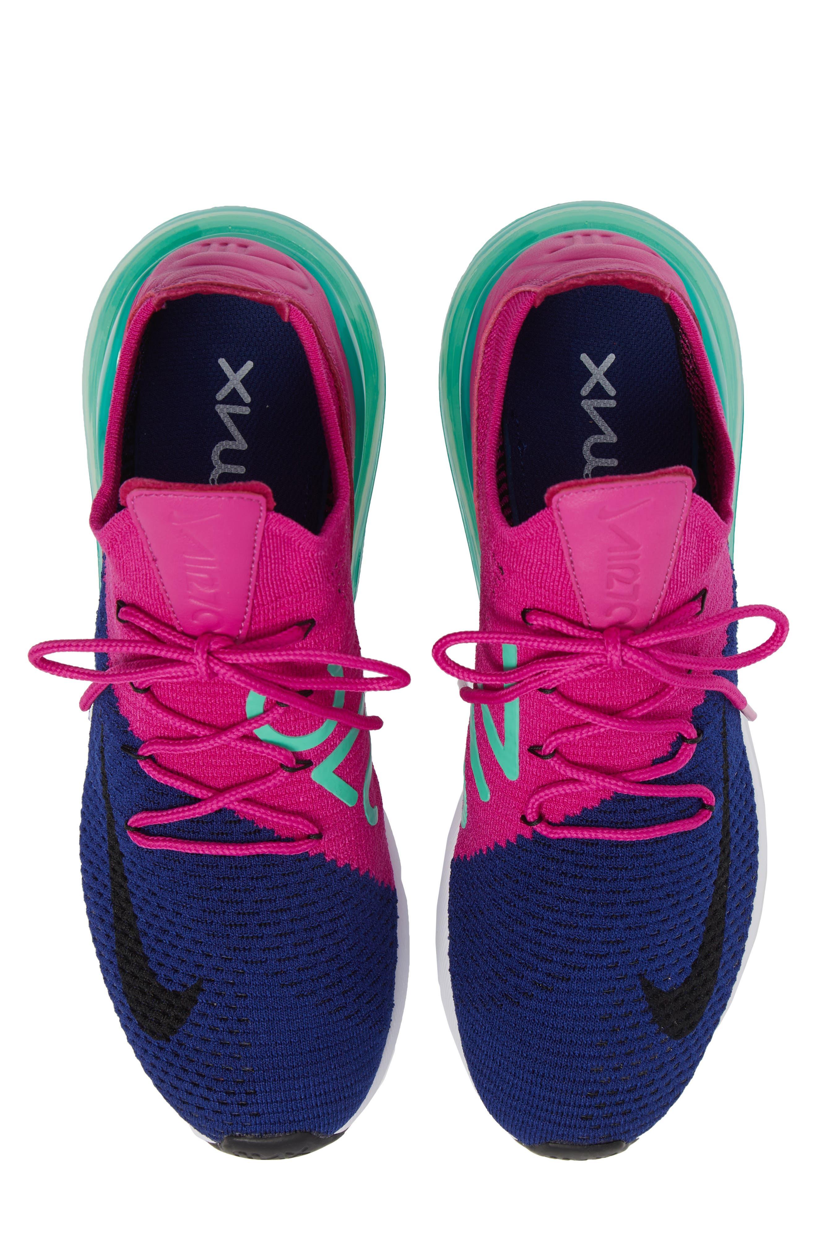 Air Max 270 Flyknit Sneaker,                             Main thumbnail 1, color,                             Deep Royal Blue/ Black