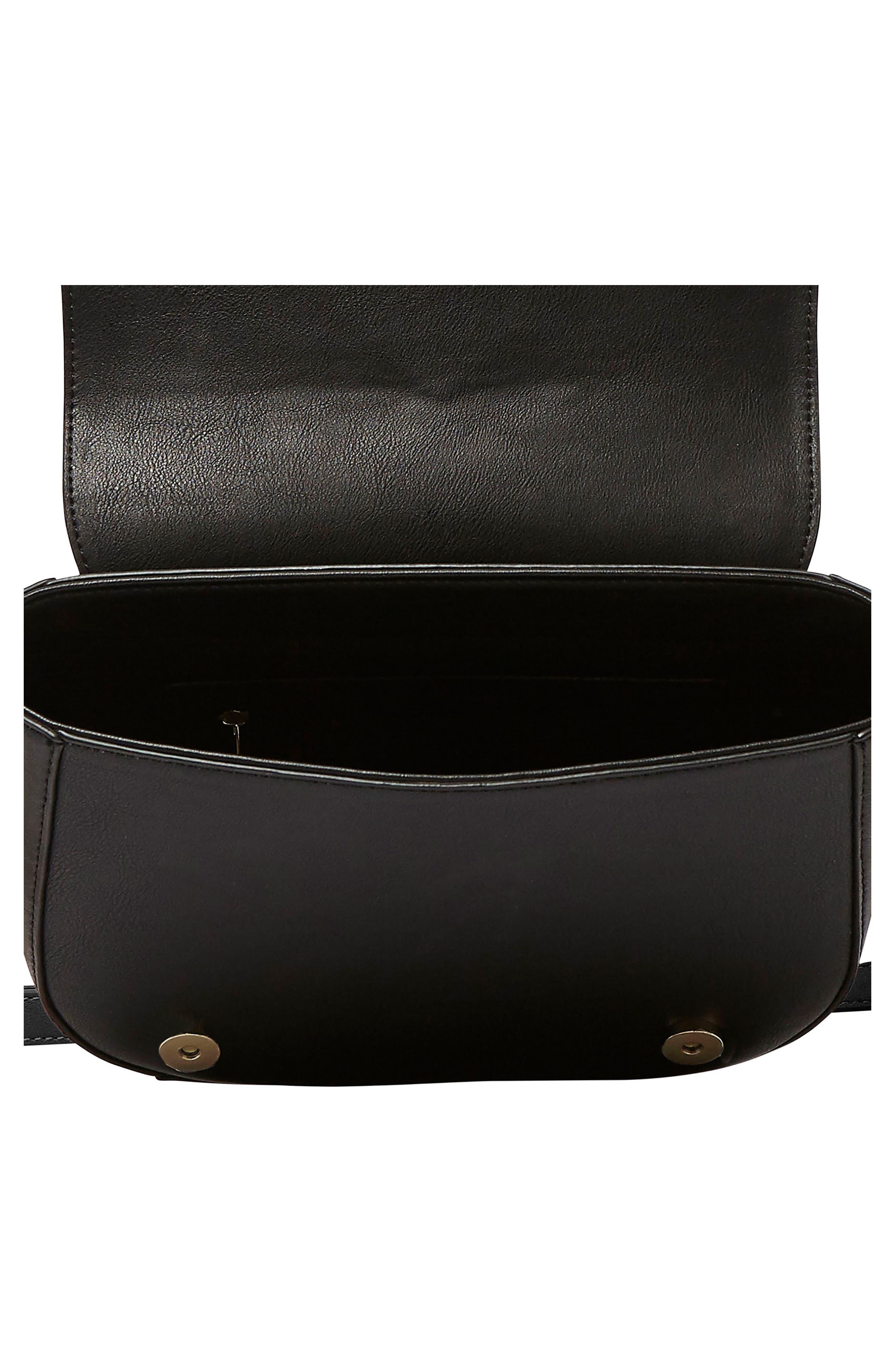 Ventura Vegan Leather Crossbody Bag,                             Alternate thumbnail 3, color,                             Black