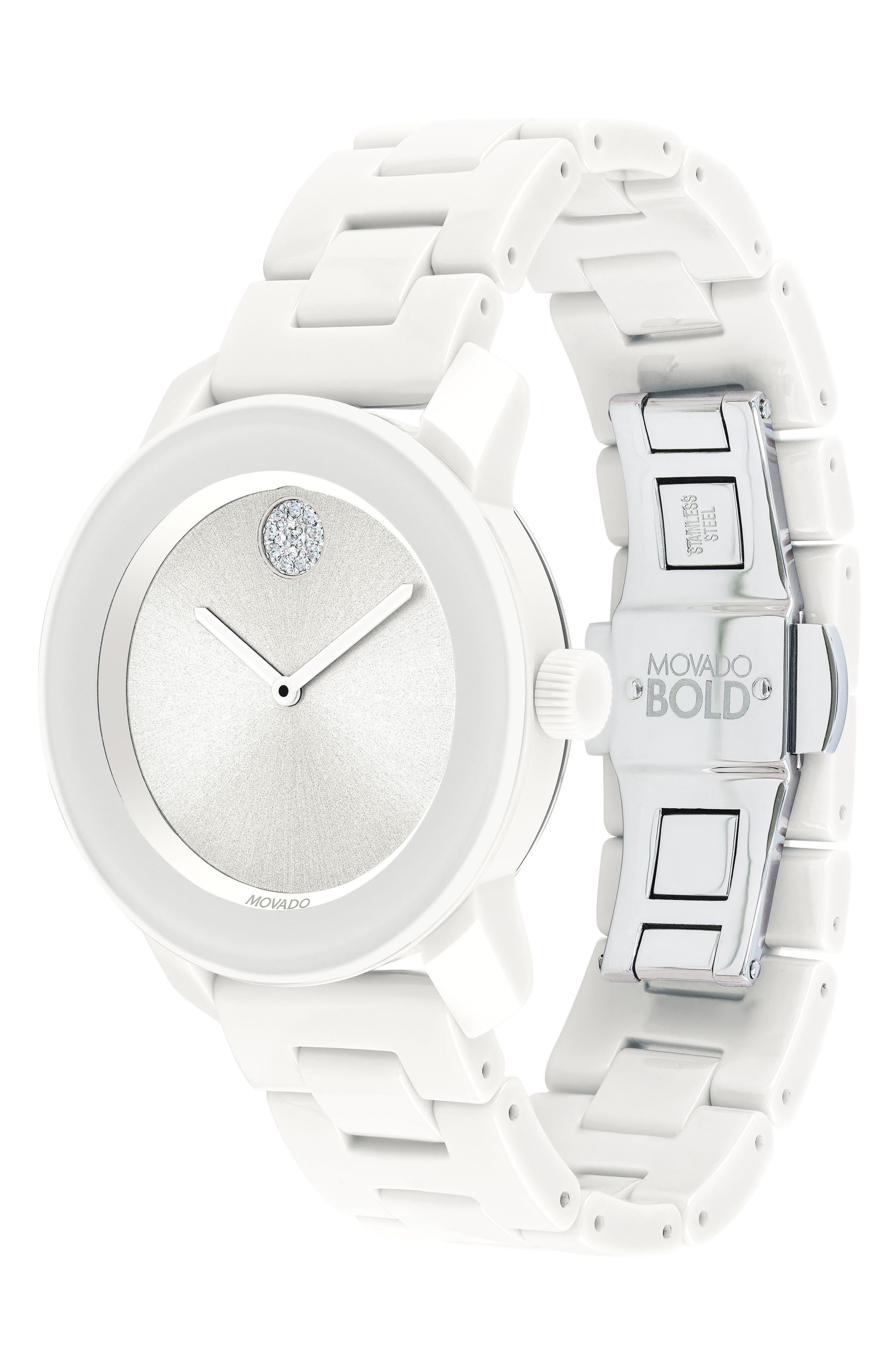 Bold Ceramic Bracelet Watch, 36mm,                             Alternate thumbnail 5, color,                             White