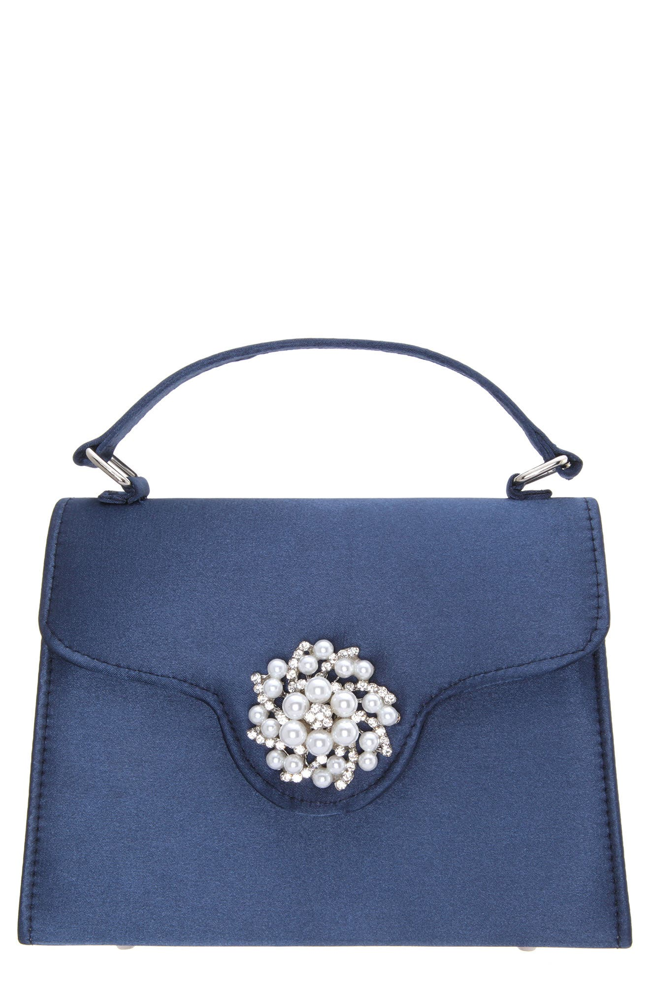 Imitation Pearl Ornament Lady Bag - Blue, Navy