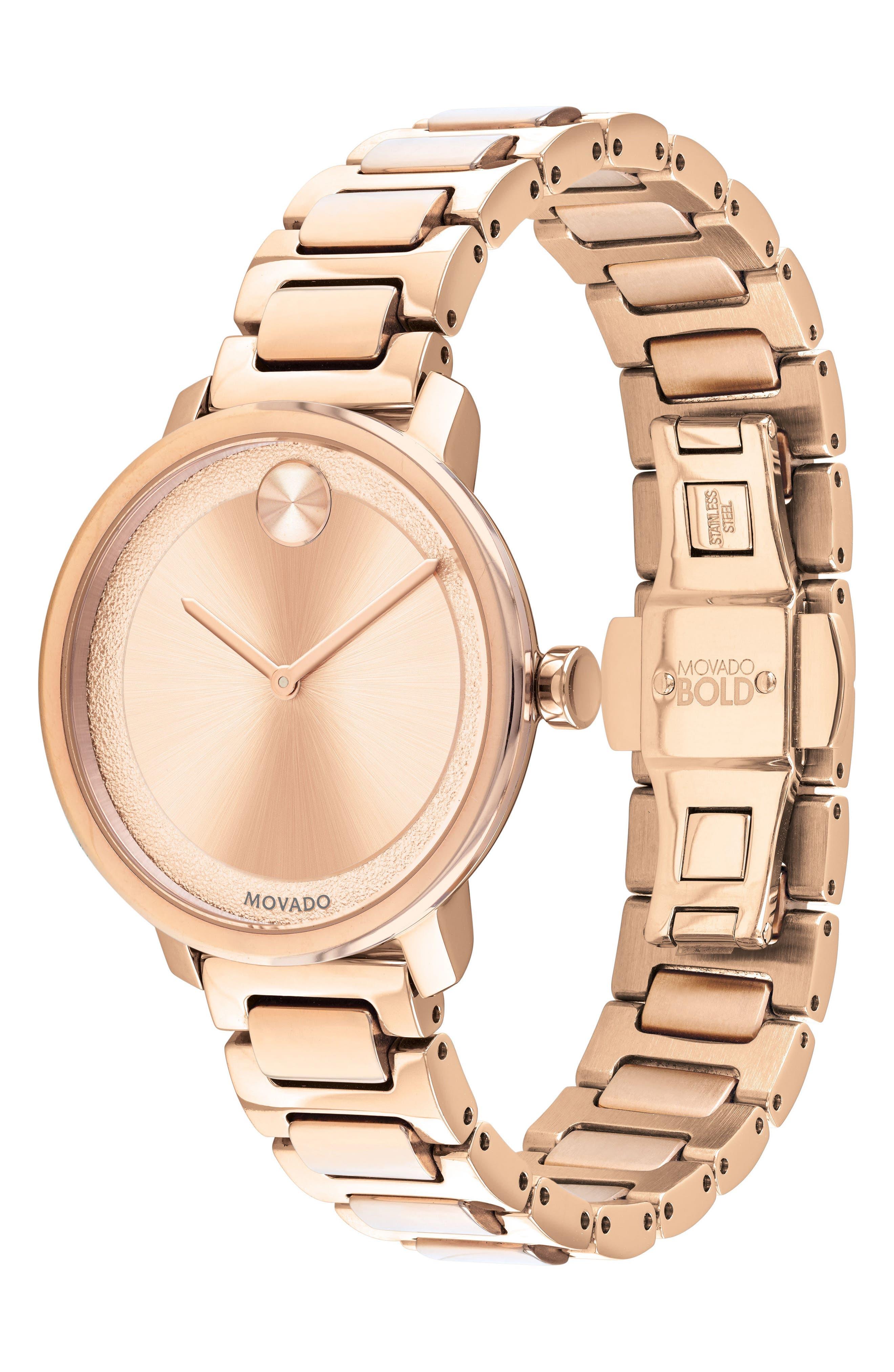 Bold Bracelet Watch, 34mm,                             Alternate thumbnail 3, color,                             Rose Gold