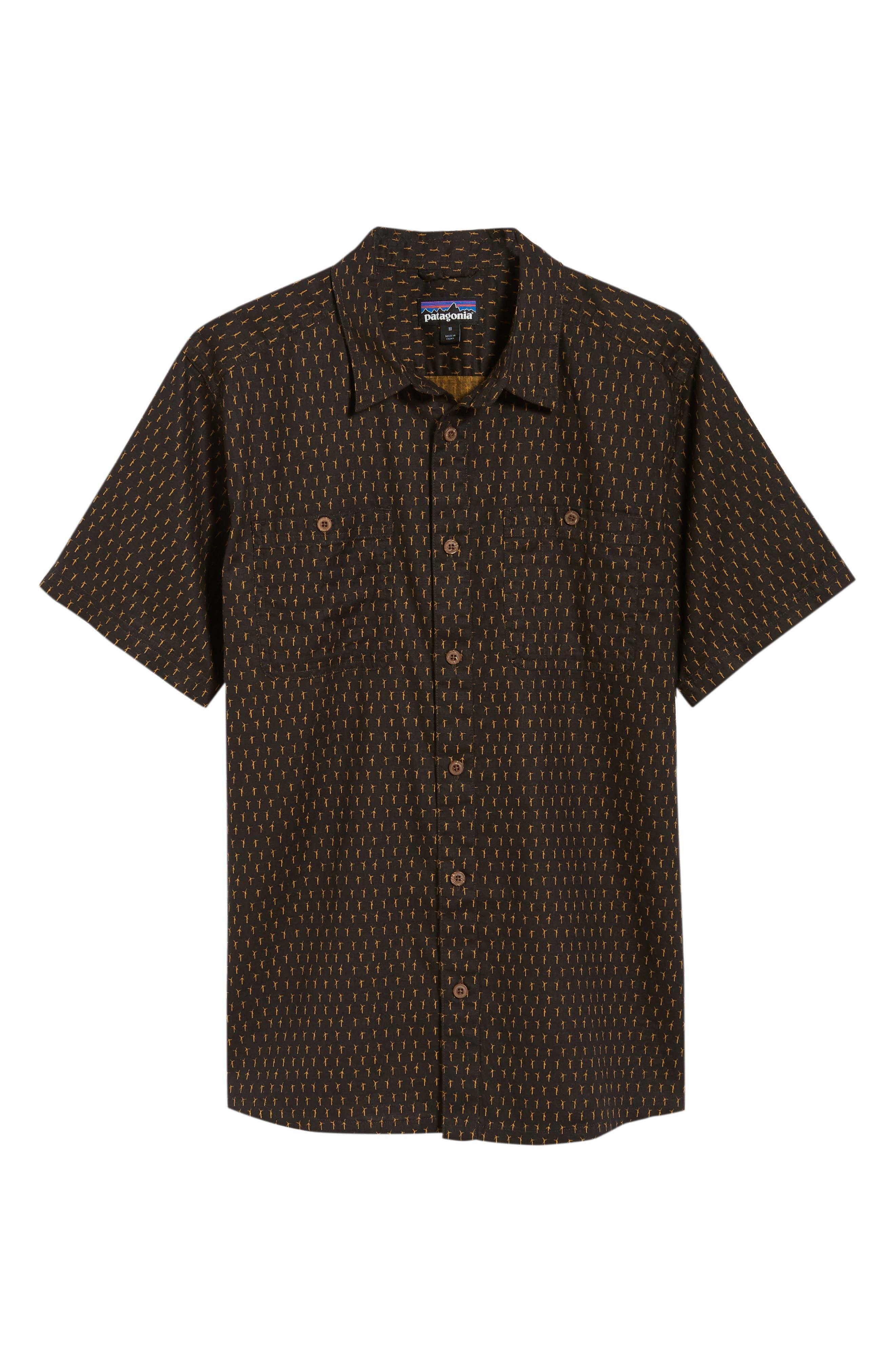'Back Step' Regular Fit Check Short Sleeve Sport Shirt,                             Alternate thumbnail 6, color,                             Windmills/ Ink Black