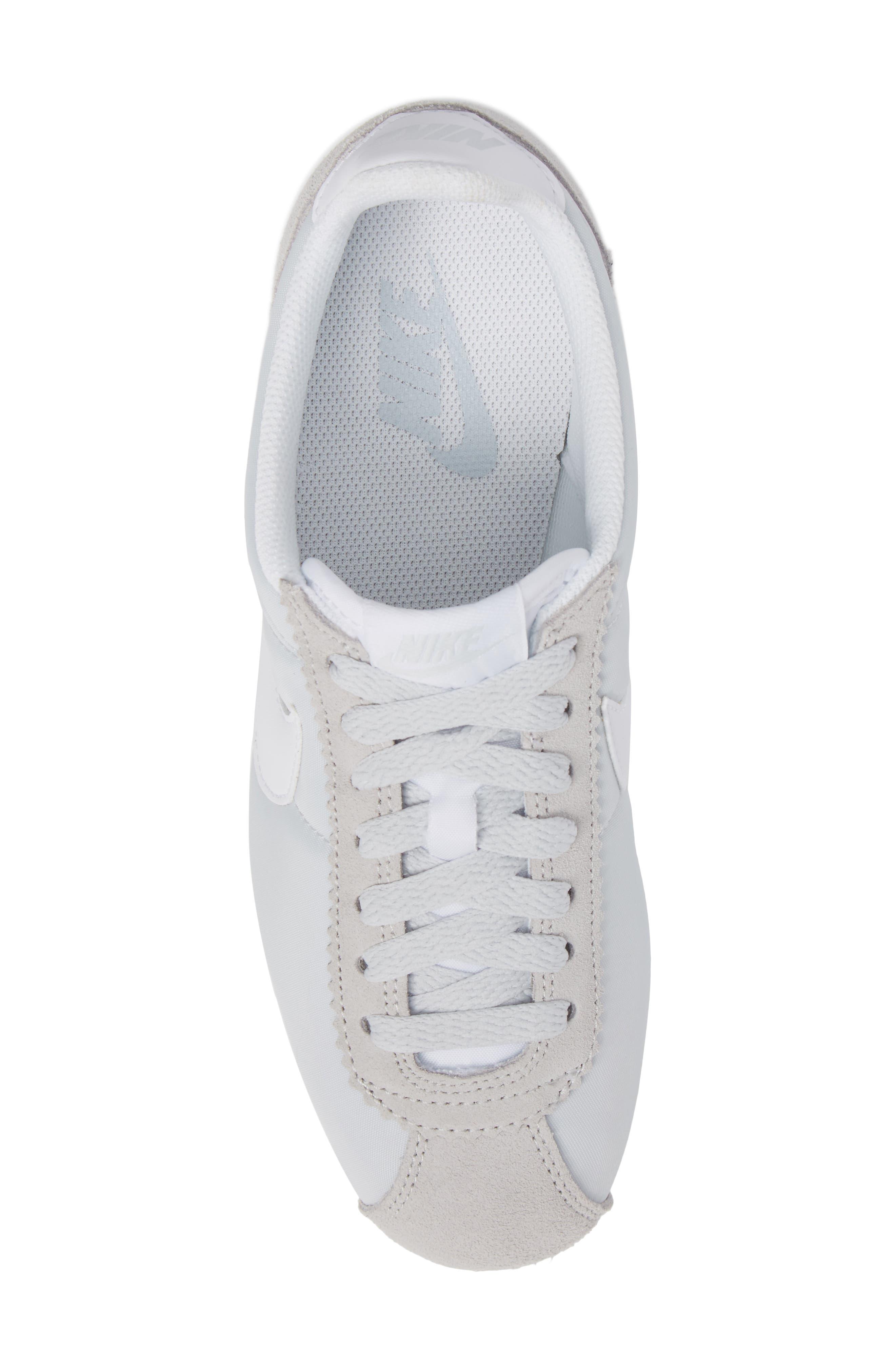 'Classic Cortez' Sneaker,                             Alternate thumbnail 5, color,                             Pure Platinum/ White