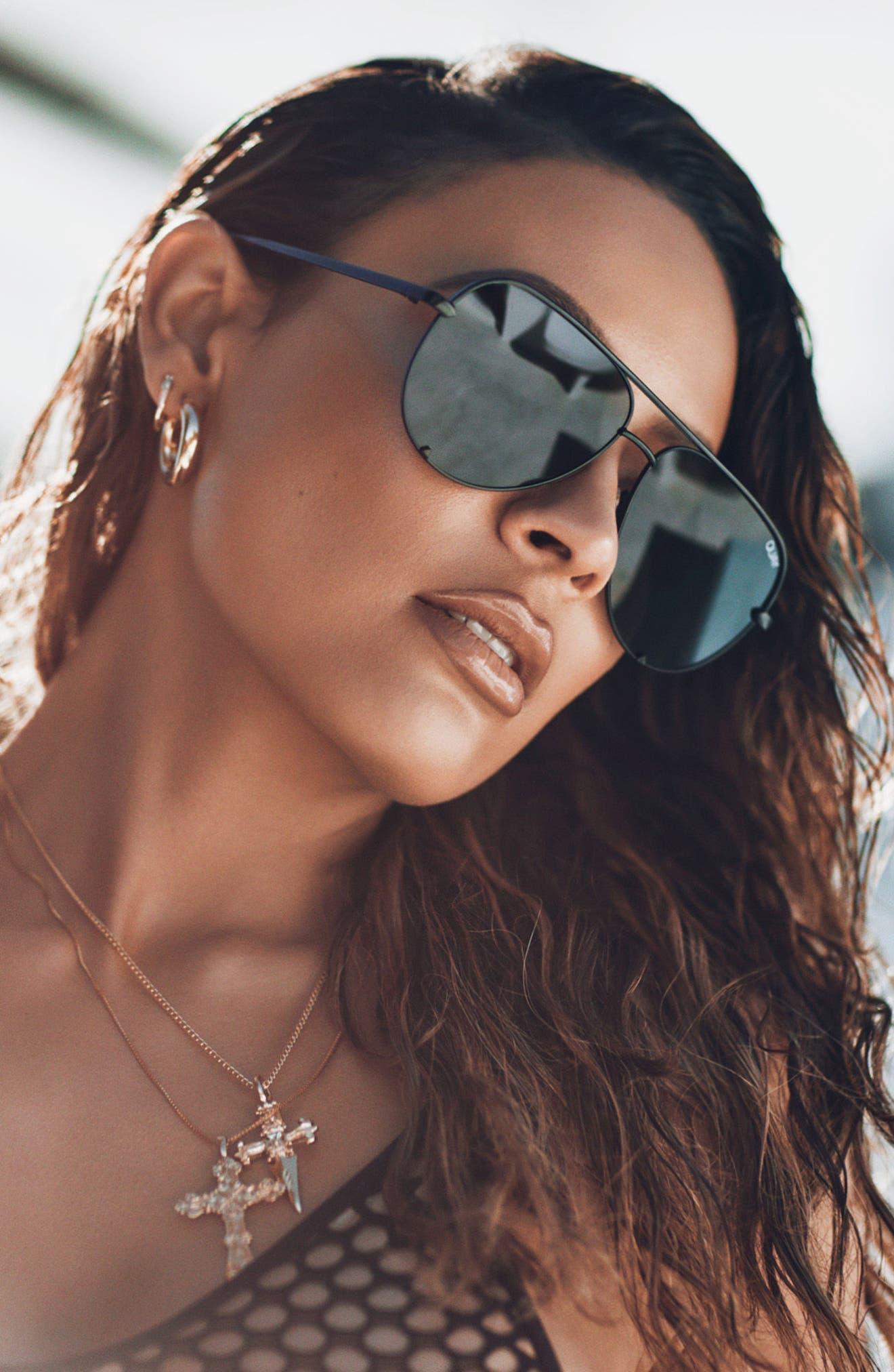 x Desi Perkins High Key Mini 57mm Aviator Sunglasses,                             Alternate thumbnail 7, color,                             Black/ Smoke