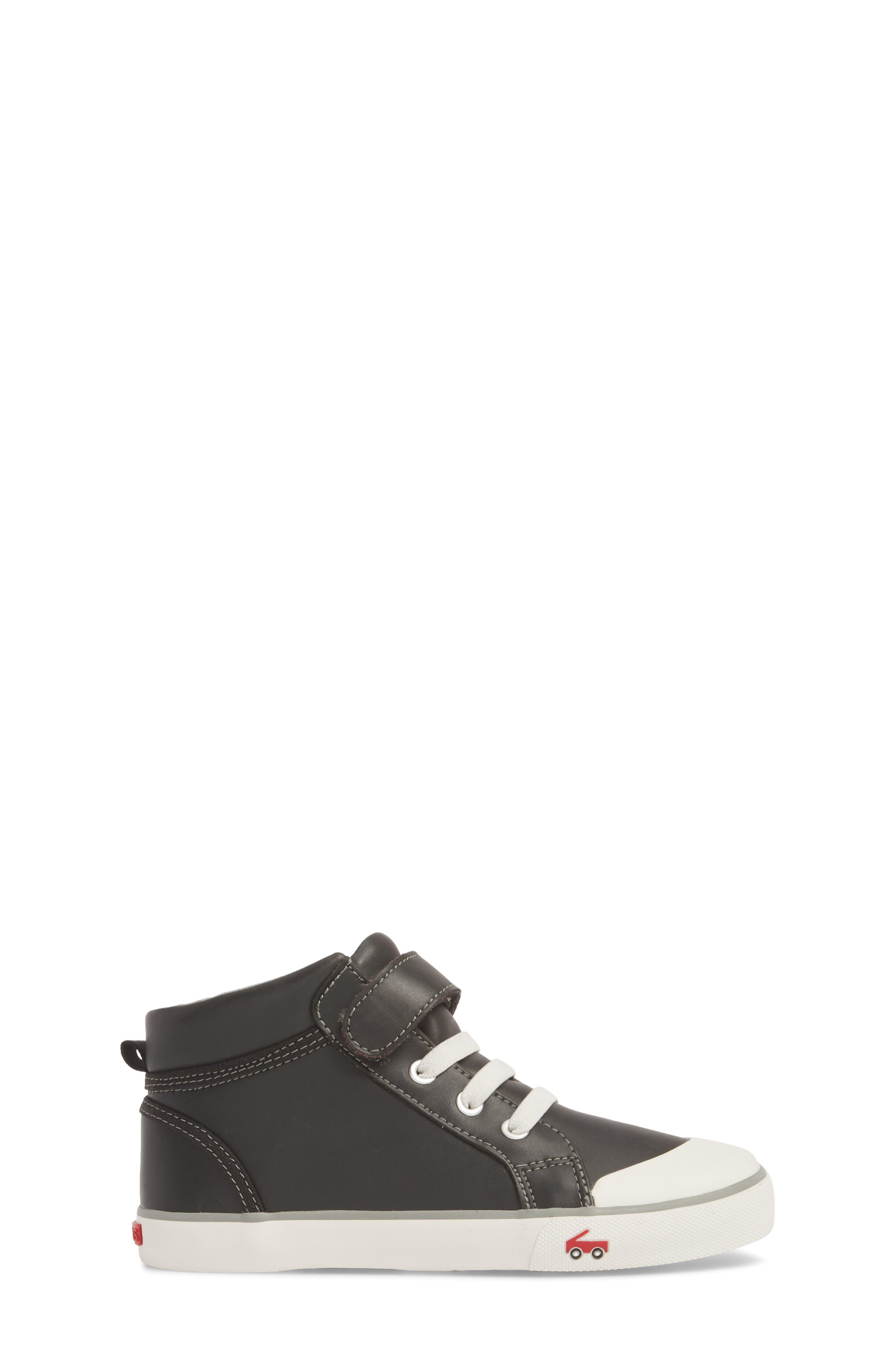 Peyton Metallic Mid Top Sneaker,                             Alternate thumbnail 4, color,                             Black Leather