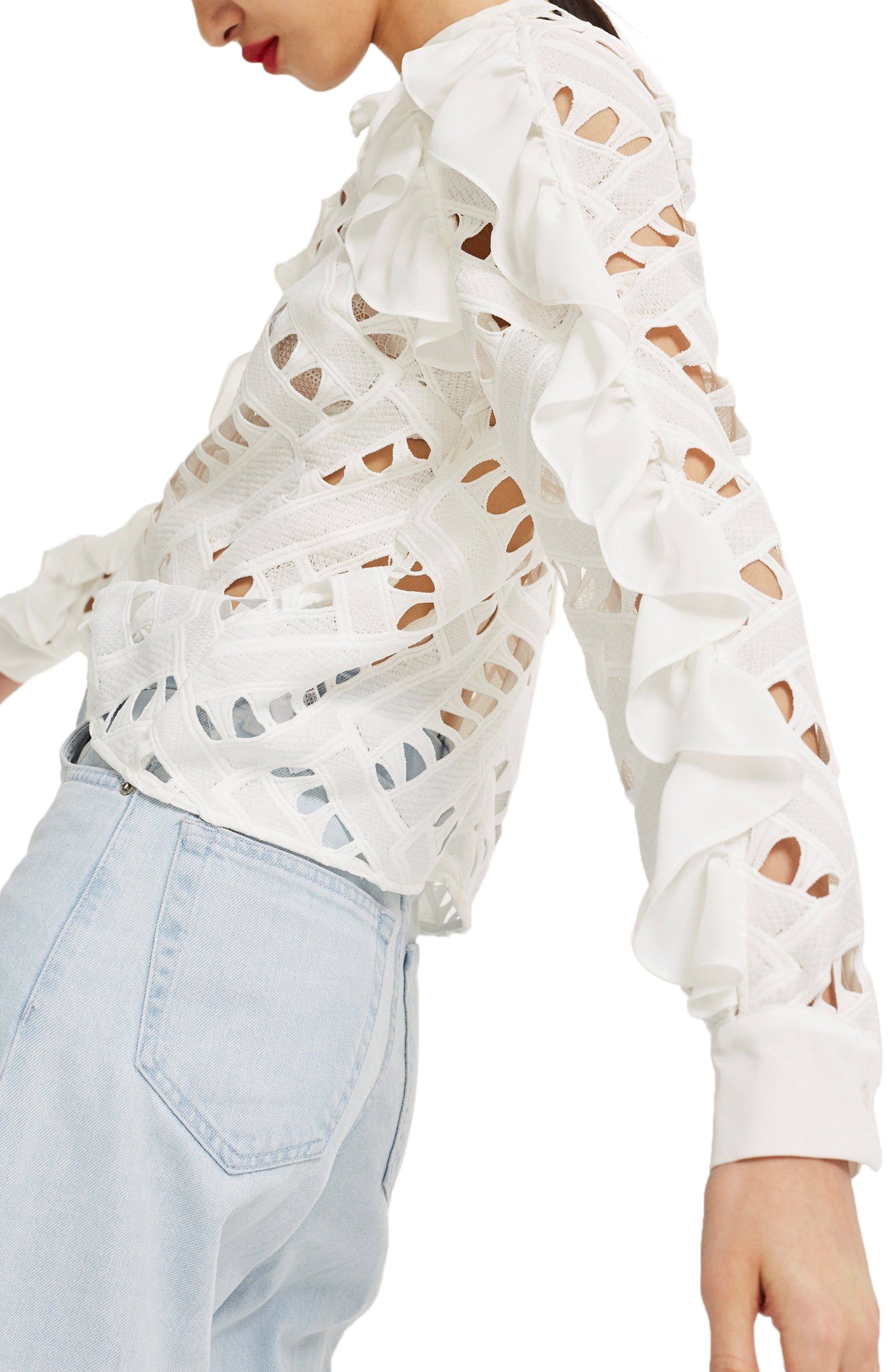 Zigzag Lace Top,                             Alternate thumbnail 4, color,                             Ivory