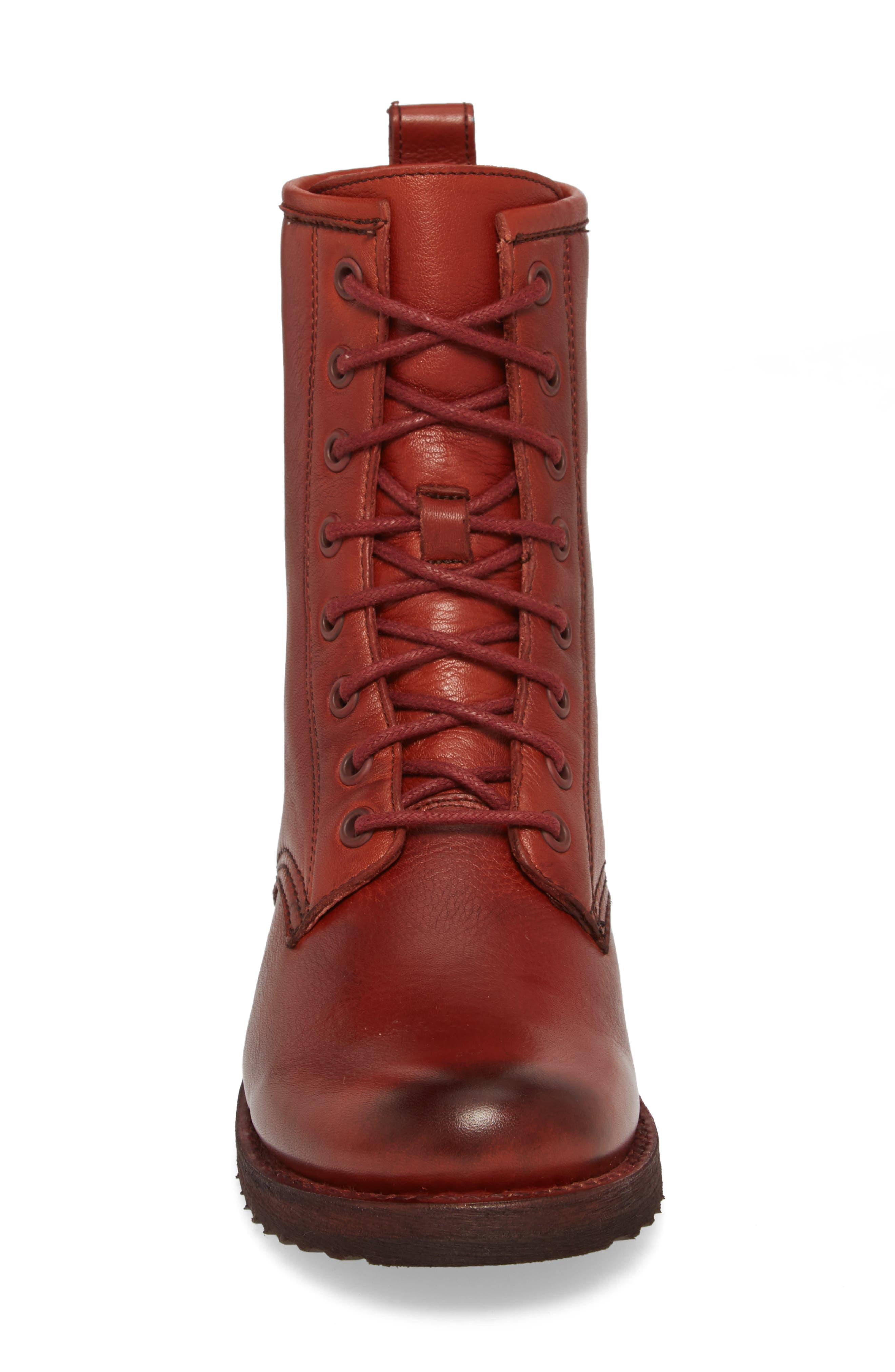 'Veronica Combat' Boot,                             Alternate thumbnail 3, color,                             Red Clay Leather