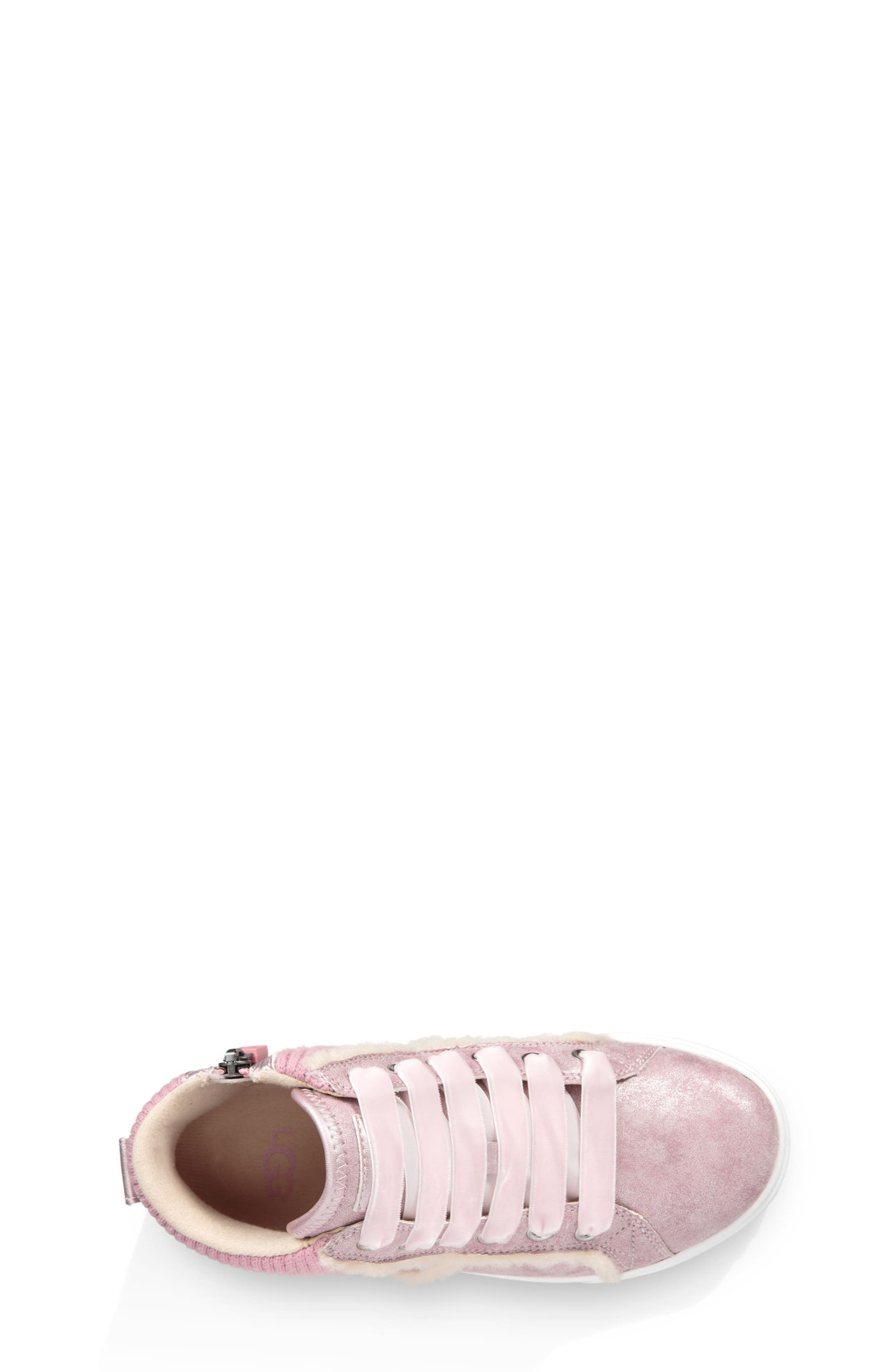 Addie Genuine Shearling High Top Sneaker,                             Alternate thumbnail 3, color,                             Cameo Pink