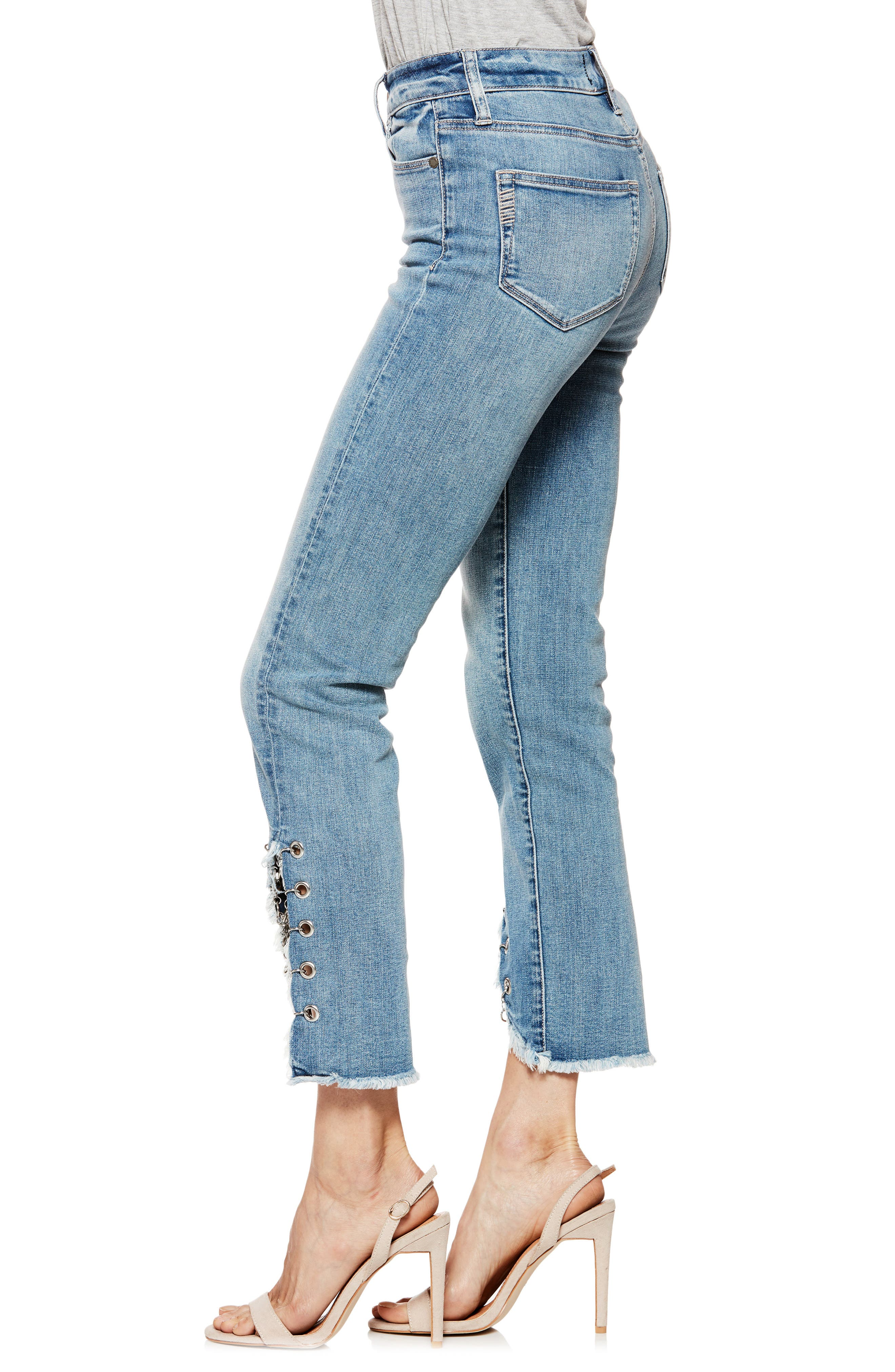 Hoxton High Waist Ankle Straight Leg Jeans,                             Alternate thumbnail 6, color,                             Olympic