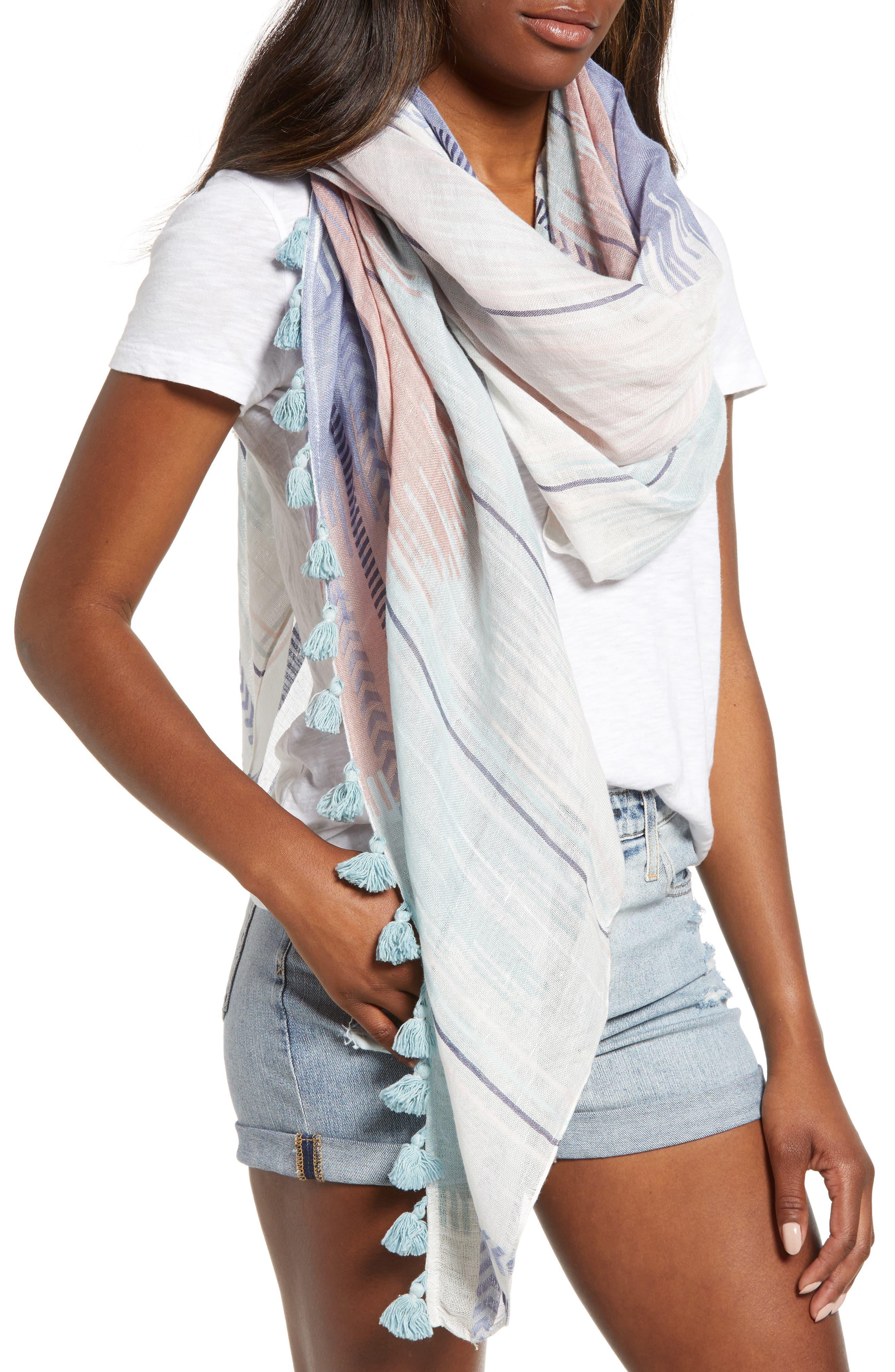 Caslon Ikat Stripe Linen Blend Scarf,                         Main,                         color, Pink Printed Ikat