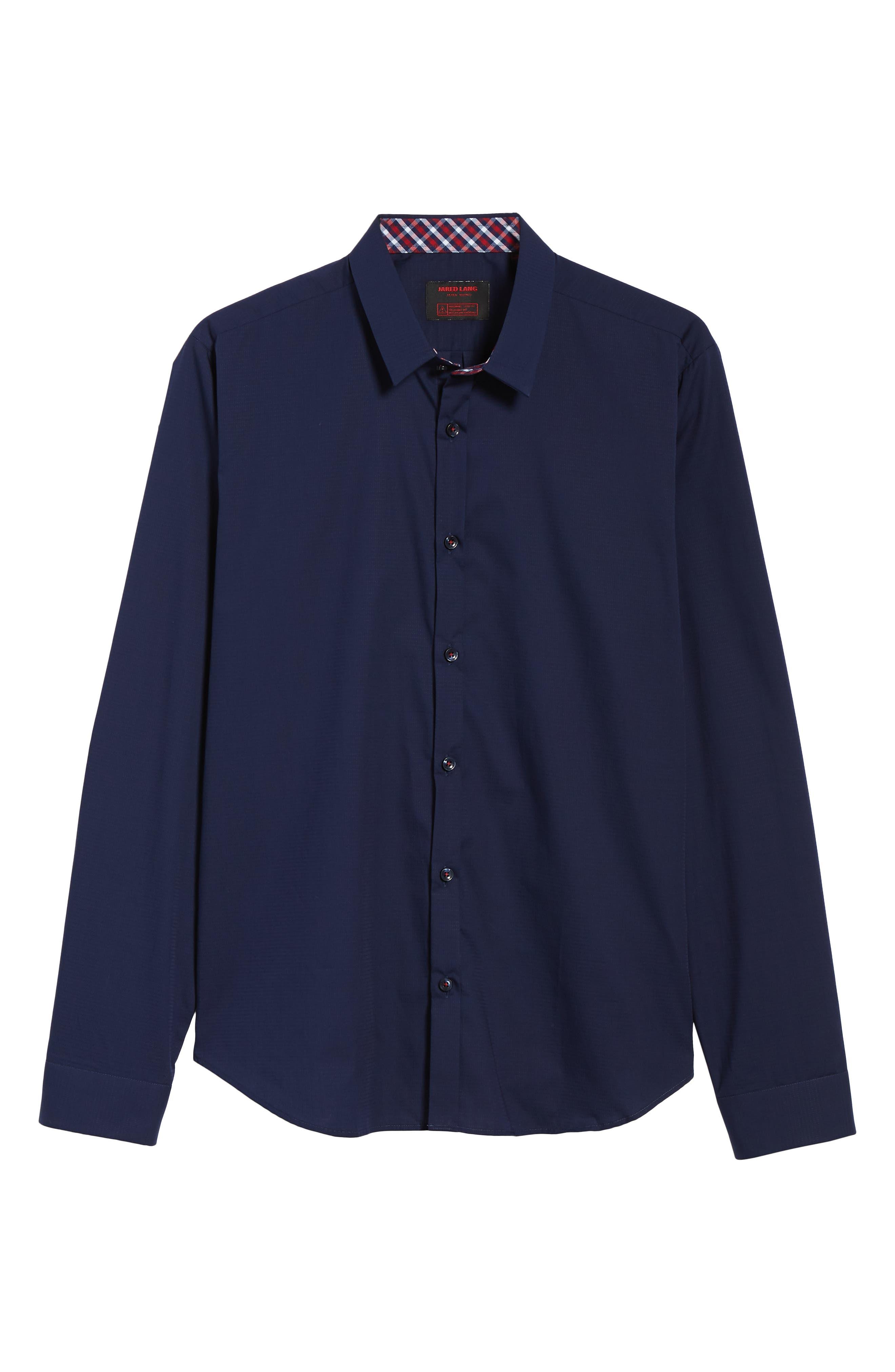 Trim Fit Sport Shirt,                             Alternate thumbnail 5, color,                             Navy Blue