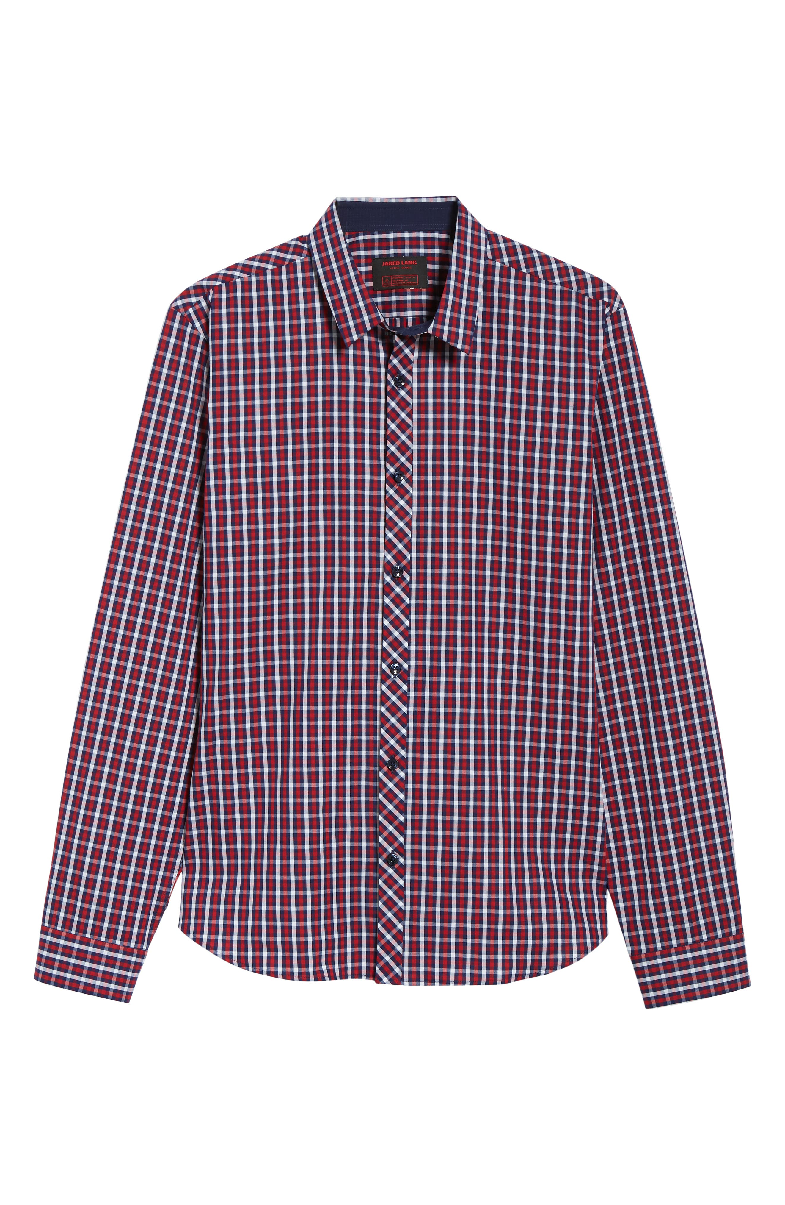 Trim Fit Sport Shirt,                             Alternate thumbnail 5, color,                             Navy Red Check