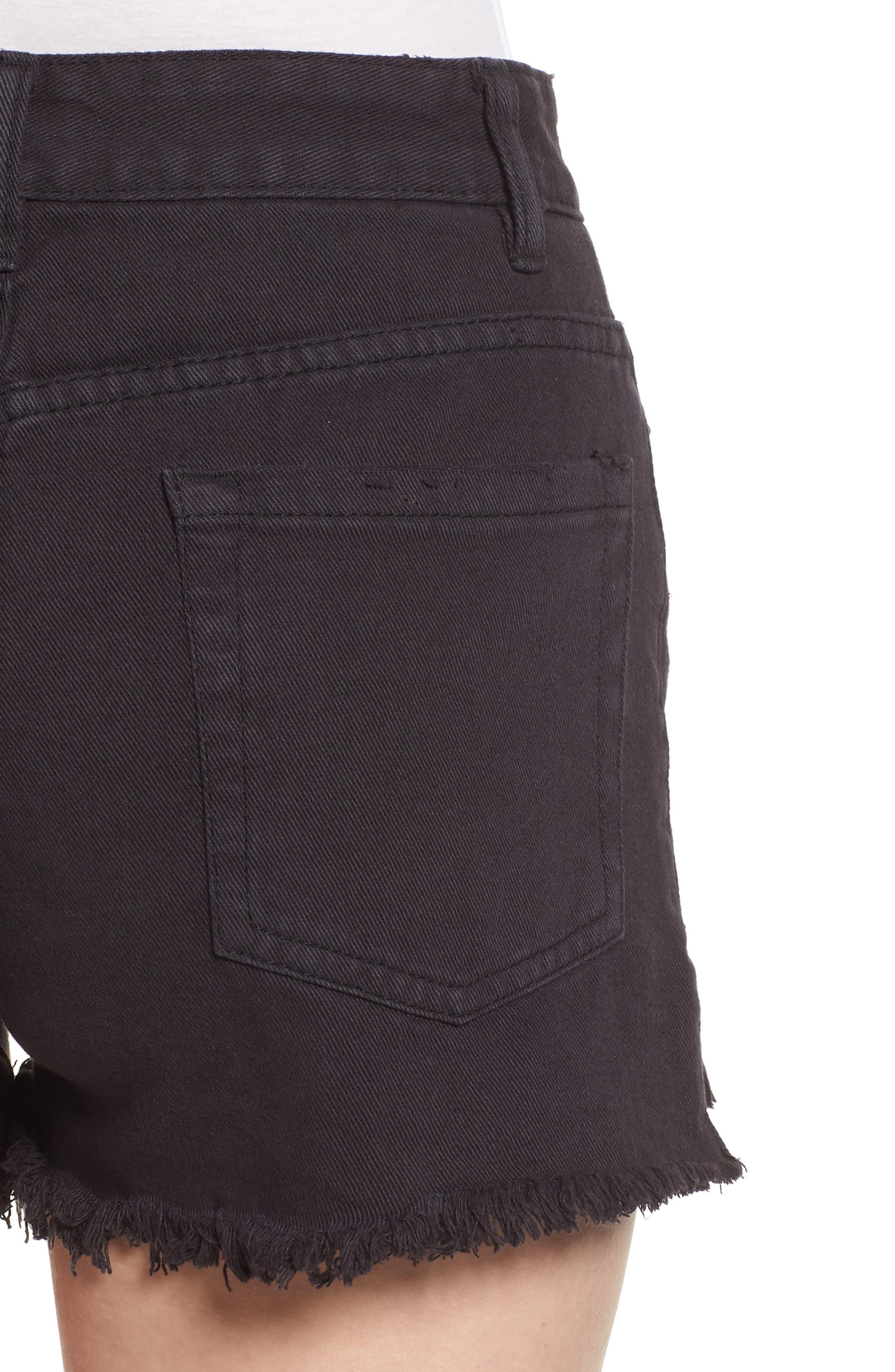 Shoreline Fray Hem Denim Shorts,                             Alternate thumbnail 4, color,                             Black