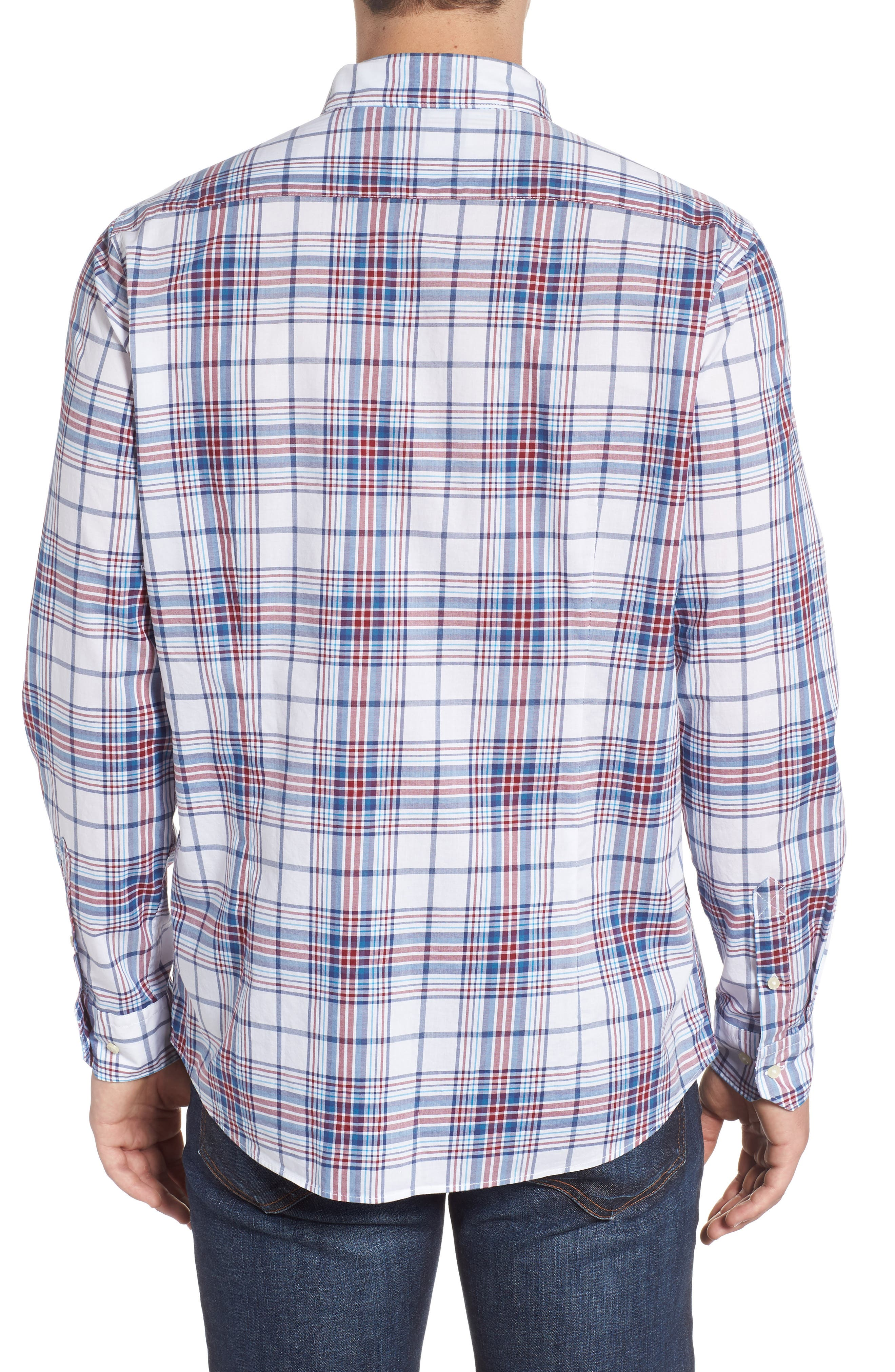 Christopher Tailored Fit Plaid Sport Shirt,                             Alternate thumbnail 3, color,                             Biking Red