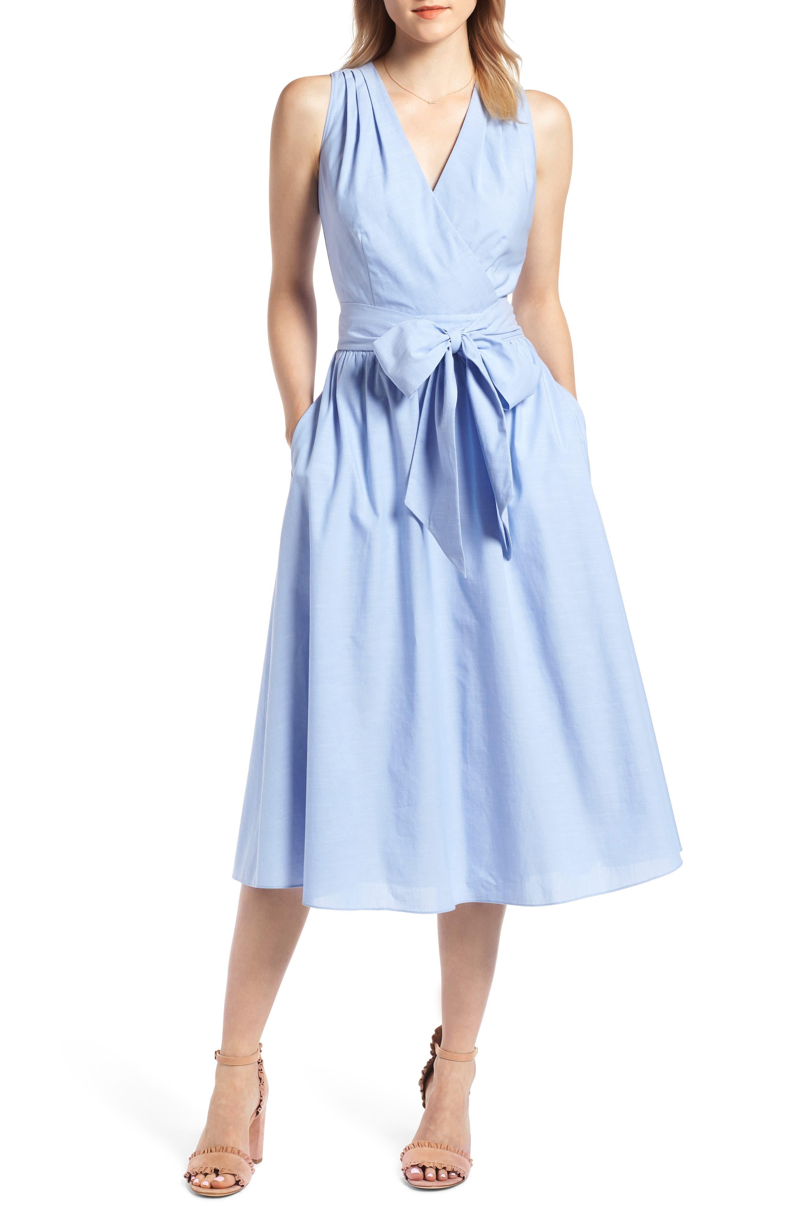 Chambray Wrap Dress,                             Main thumbnail 1, color,                             Chambray