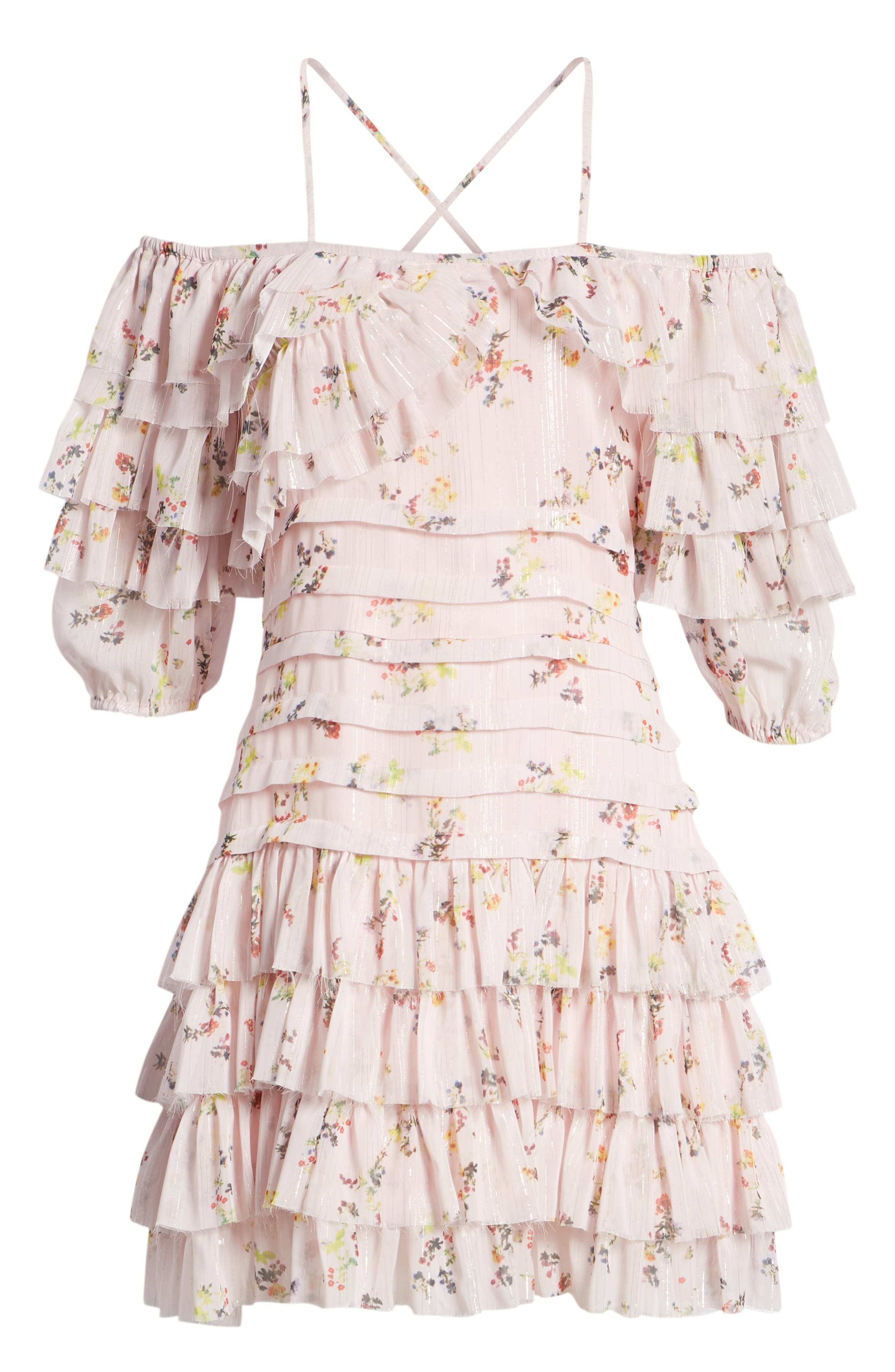 Mina Ruffled Cold Shoulder Dress,                             Alternate thumbnail 7, color,                             Multi