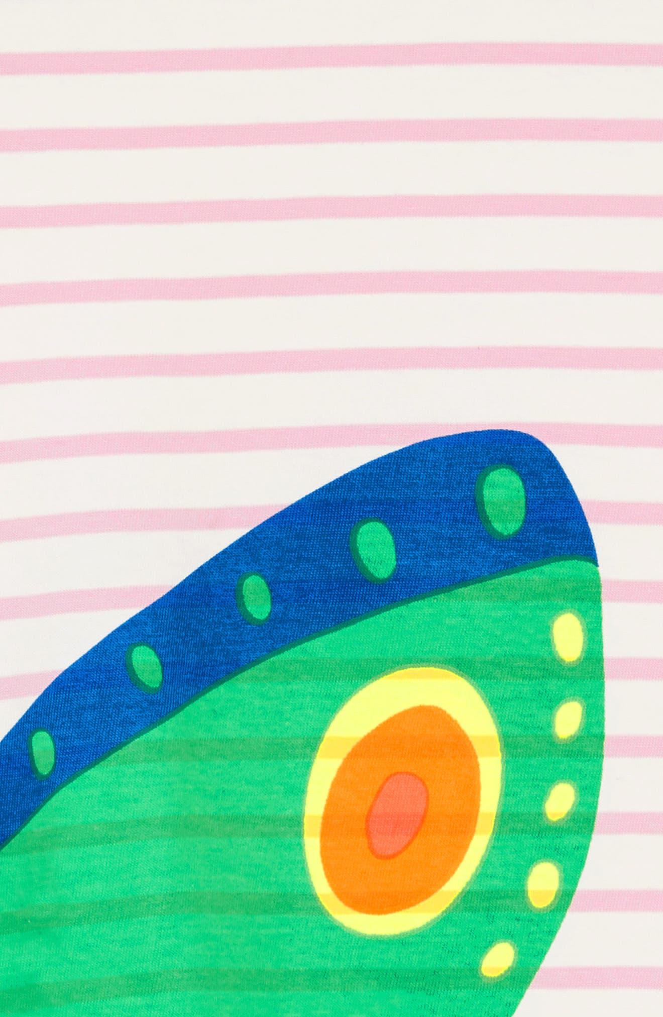 Vacation Appliqué Dress,                             Alternate thumbnail 3, color,                             Ivory/ Rosebud Stripe