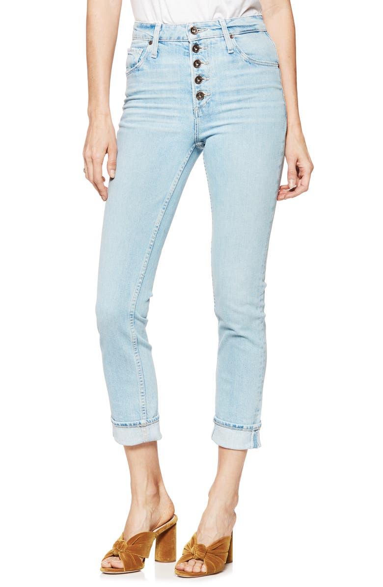 Sarah Button Fly High Waist Slim Jeans