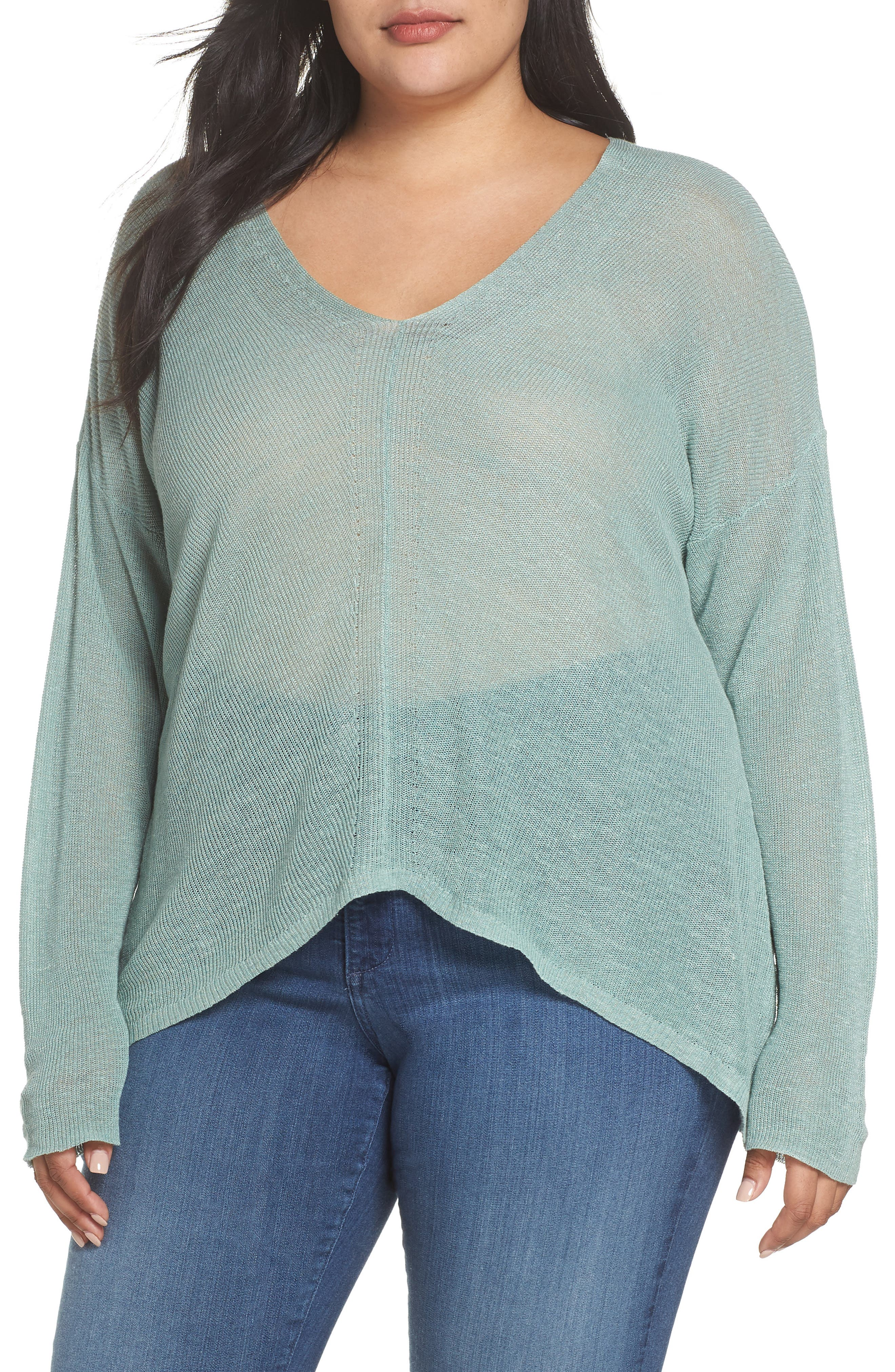Boxy Organic Linen Blend Sweater,                             Main thumbnail 1, color,                             Elm