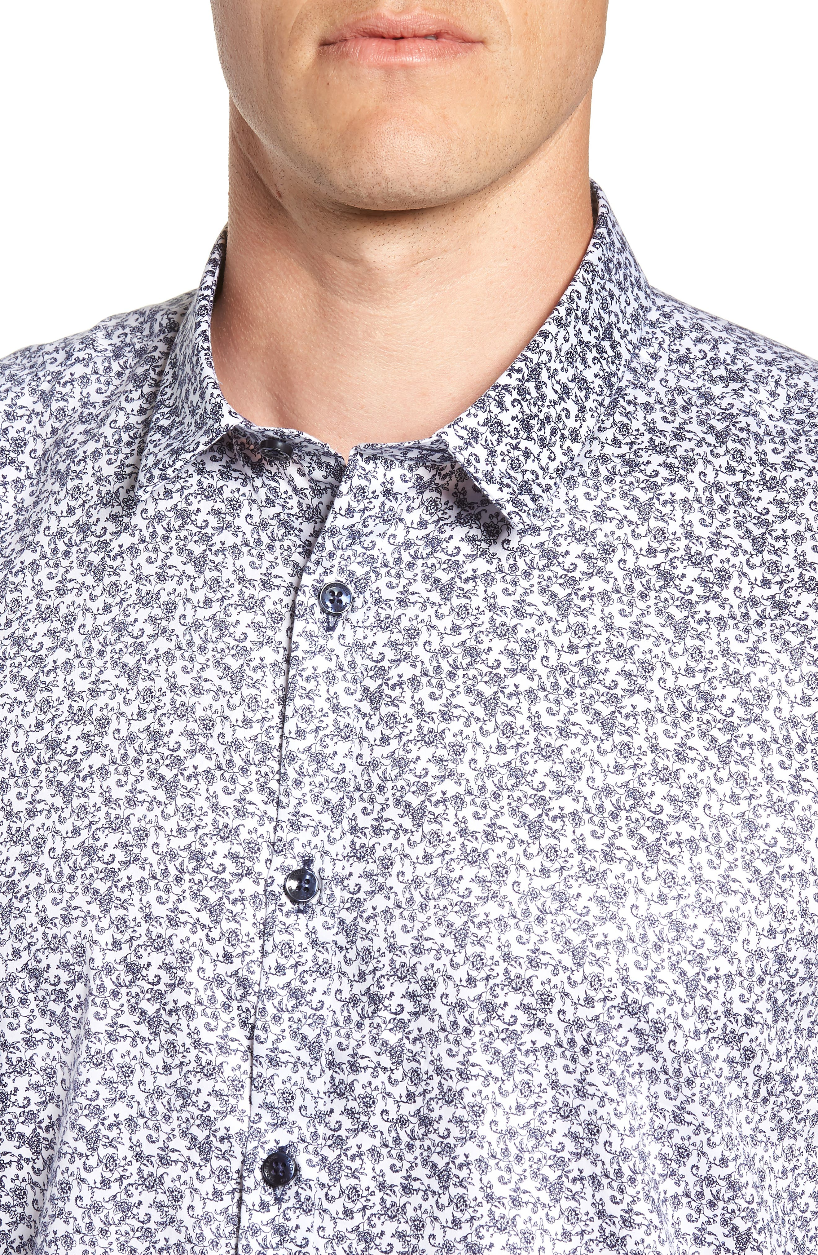 Floral Sport Shirt,                             Alternate thumbnail 2, color,                             White Navy Print