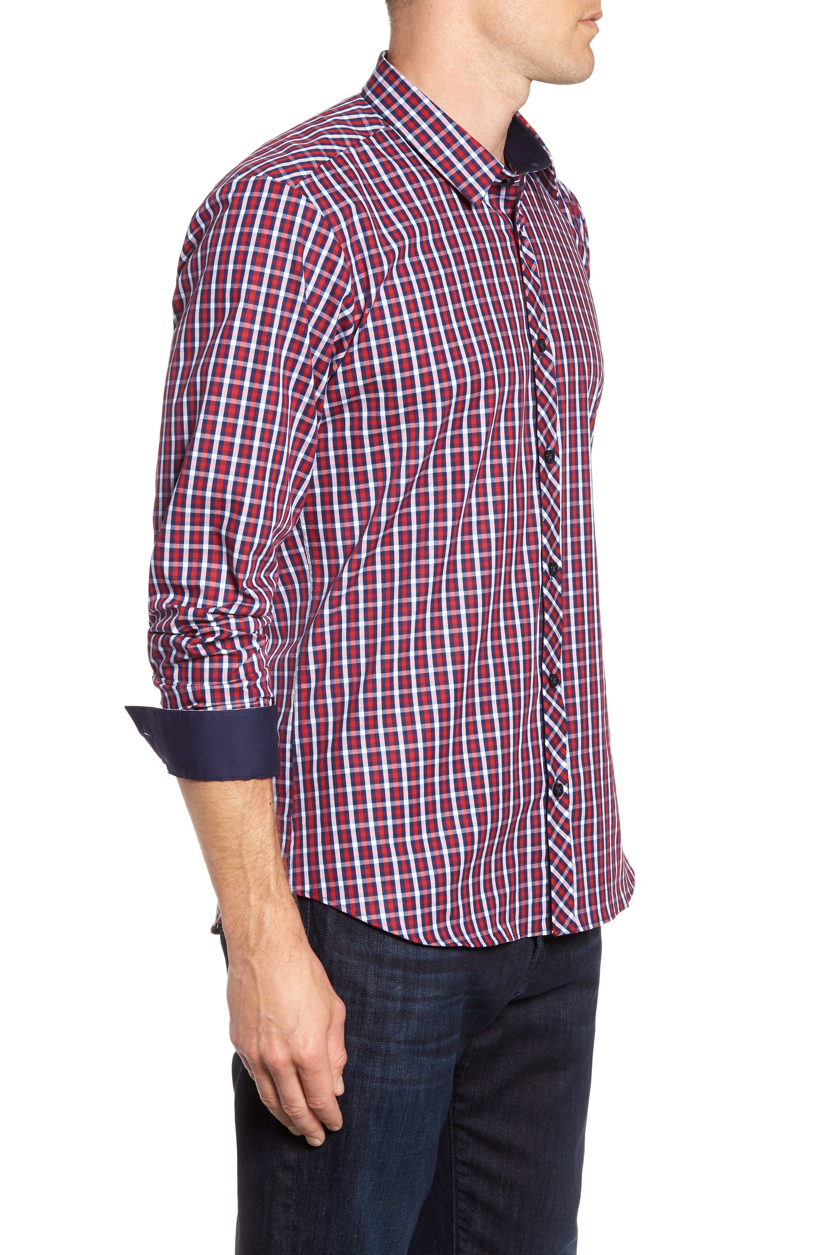 Trim Fit Sport Shirt,                             Alternate thumbnail 4, color,                             Navy Red Check