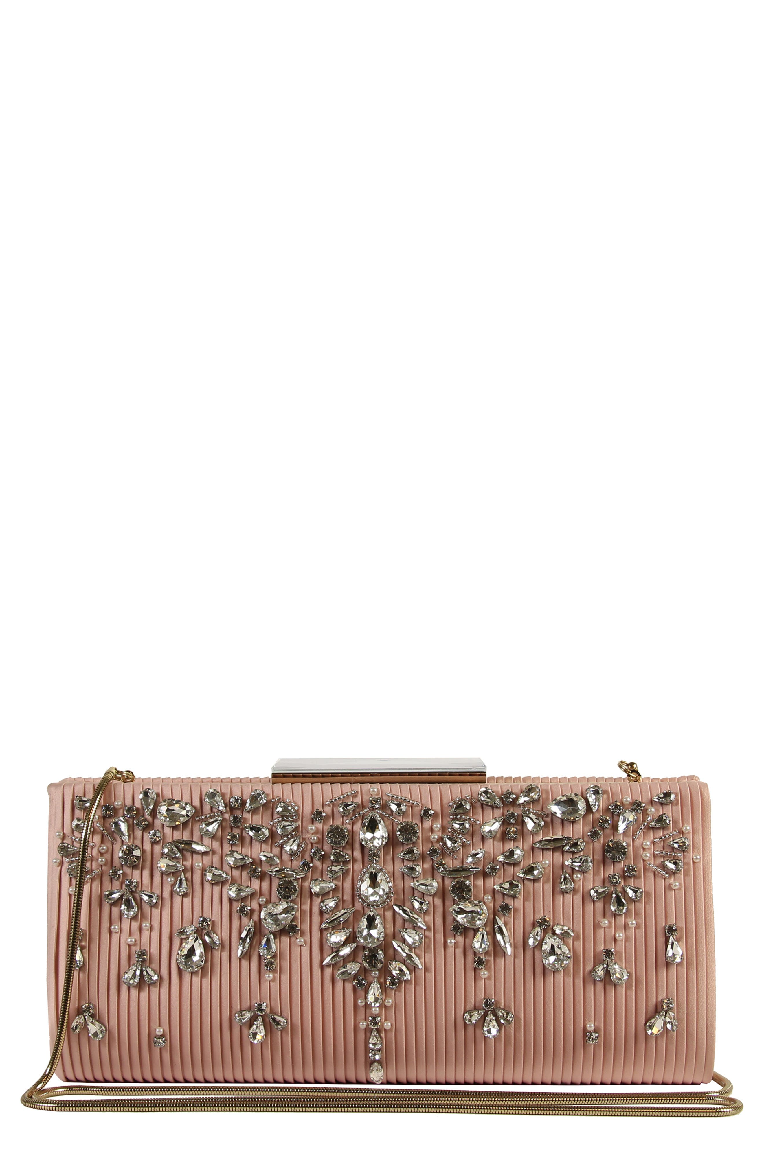 Gale Embellished Clutch,                             Main thumbnail 1, color,                             Blossom Pink