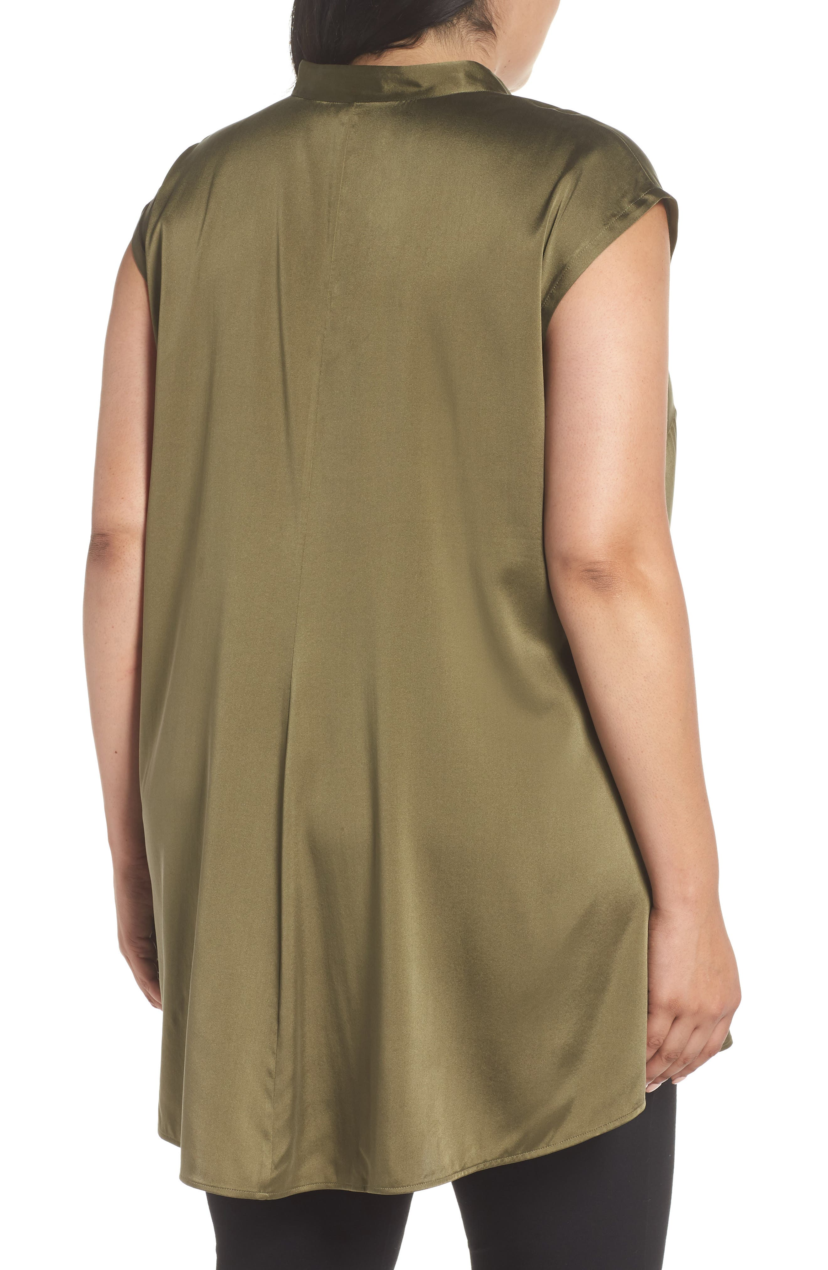 Stretch Silk Top,                             Alternate thumbnail 2, color,                             Olive