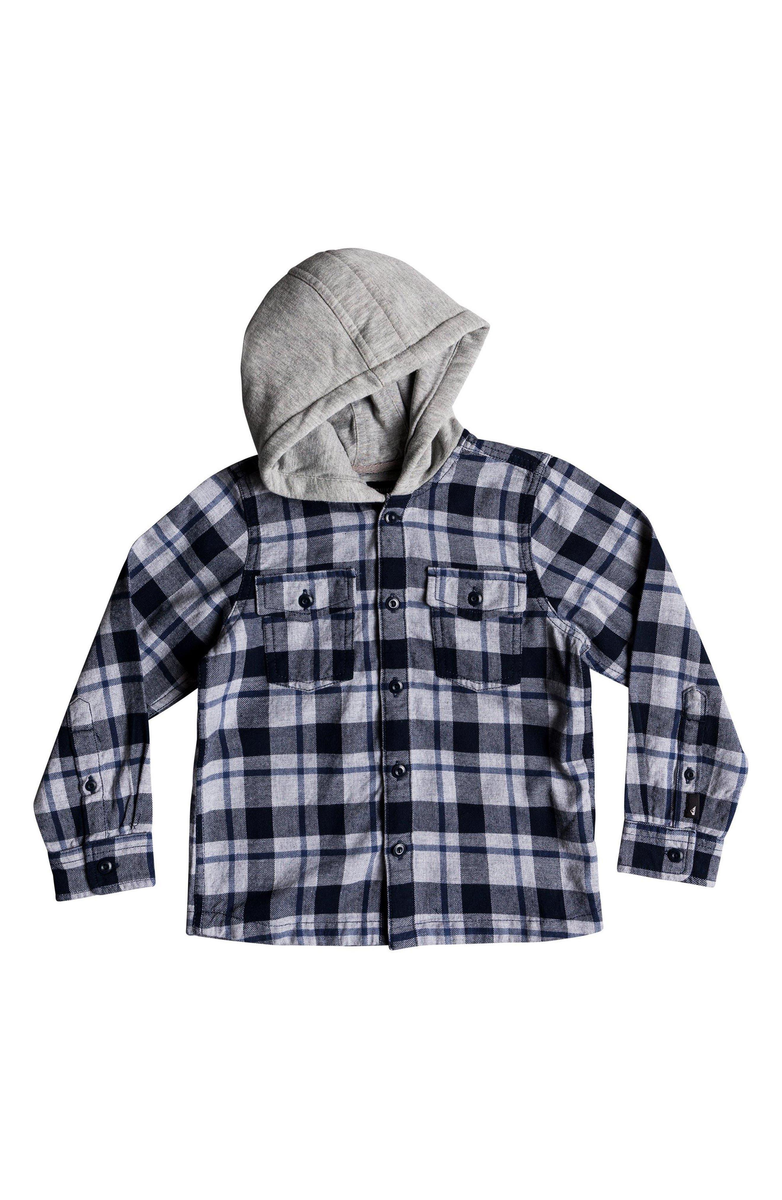 Hooded Flannel Shirt Jacket,                         Main,                         color, Navy Blazer