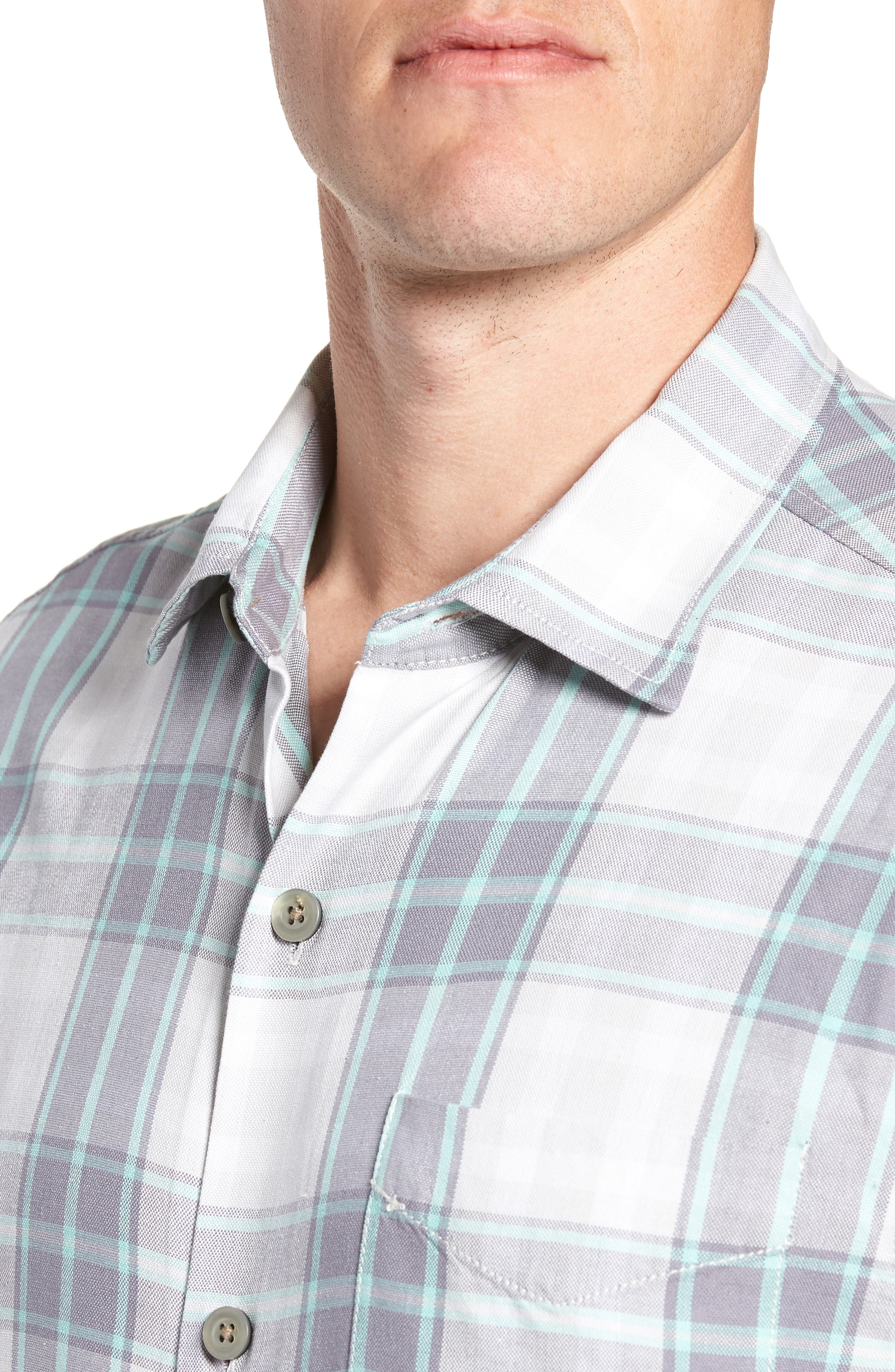 Zamora Plaid Silk Sport Shirt,                             Alternate thumbnail 2, color,                             Bala Shark