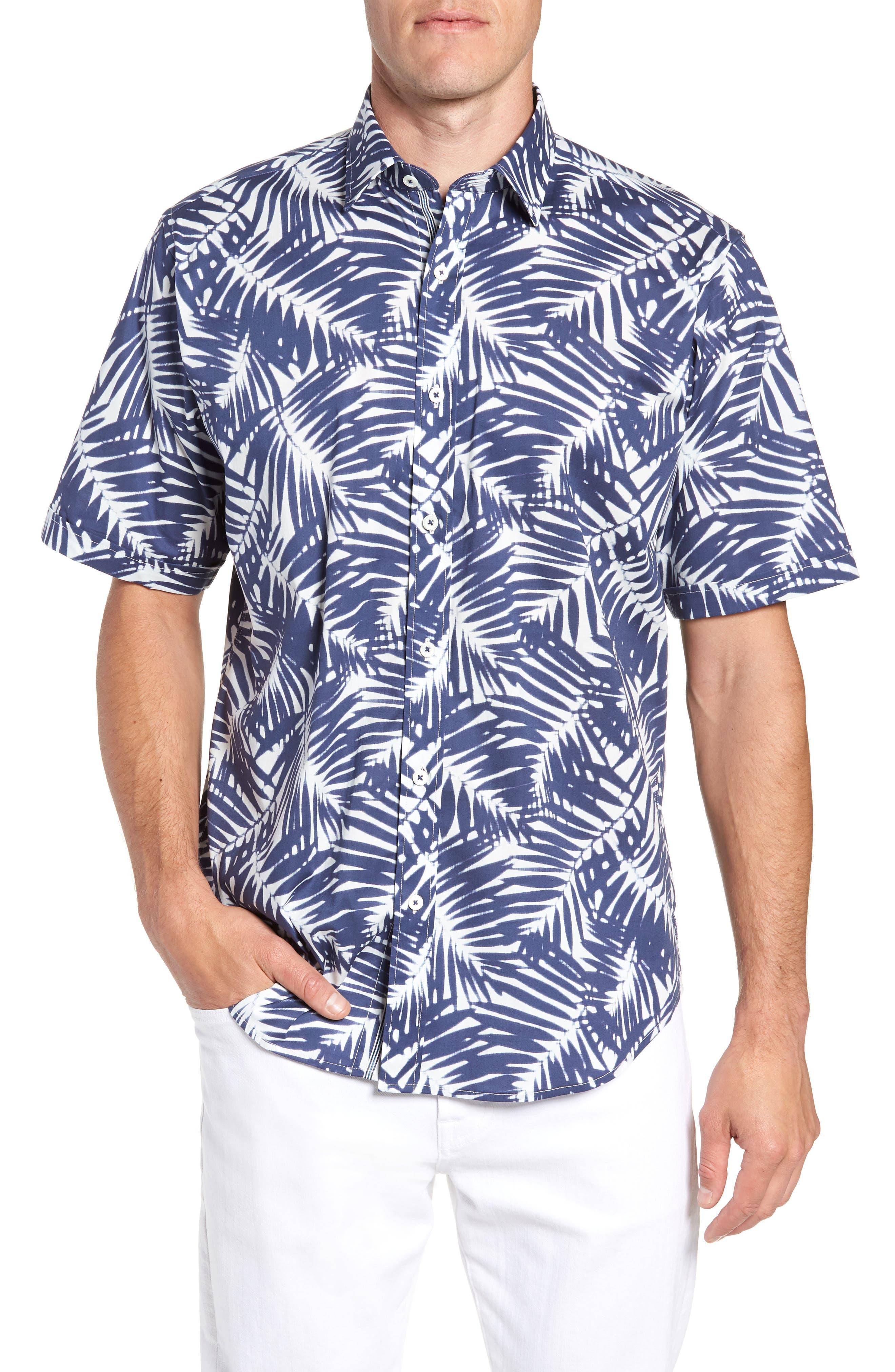 Indigo Palms Classic Fit Sport Shirt,                             Main thumbnail 1, color,                             Navy