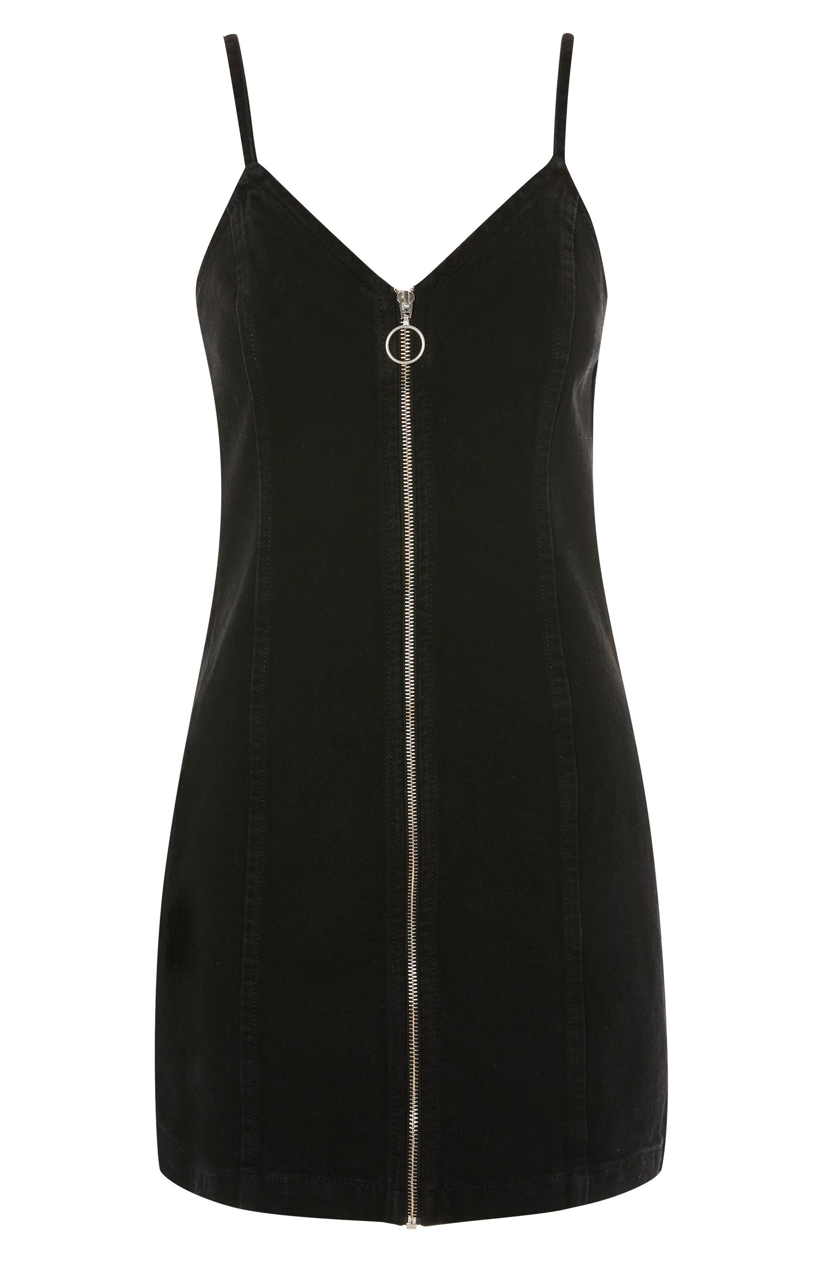 Zip Through Denim Body-Con Dress,                             Alternate thumbnail 6, color,                             Black