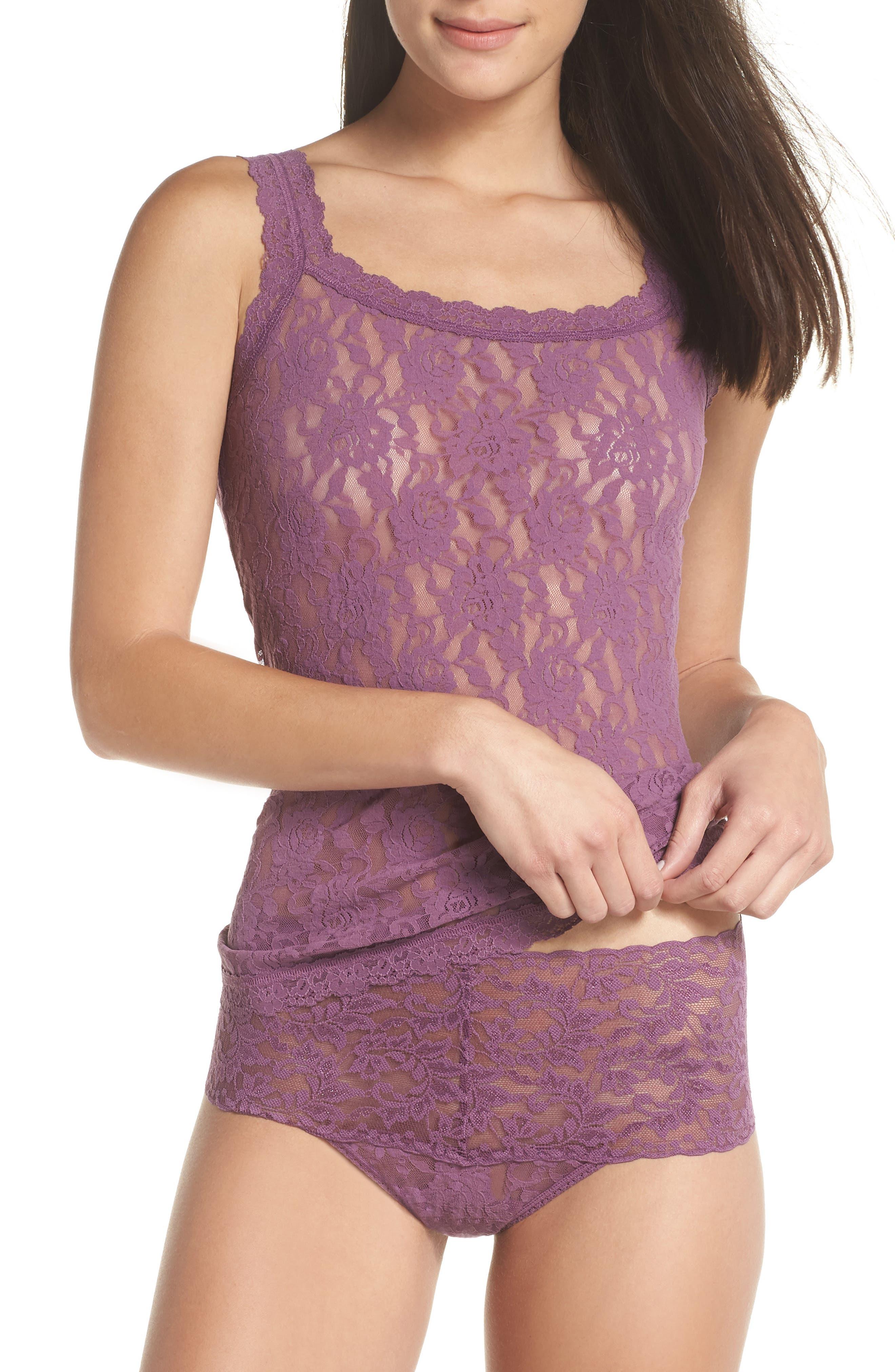 'Signature Lace' Camisole,                             Alternate thumbnail 4, color,                             Valiant Purple