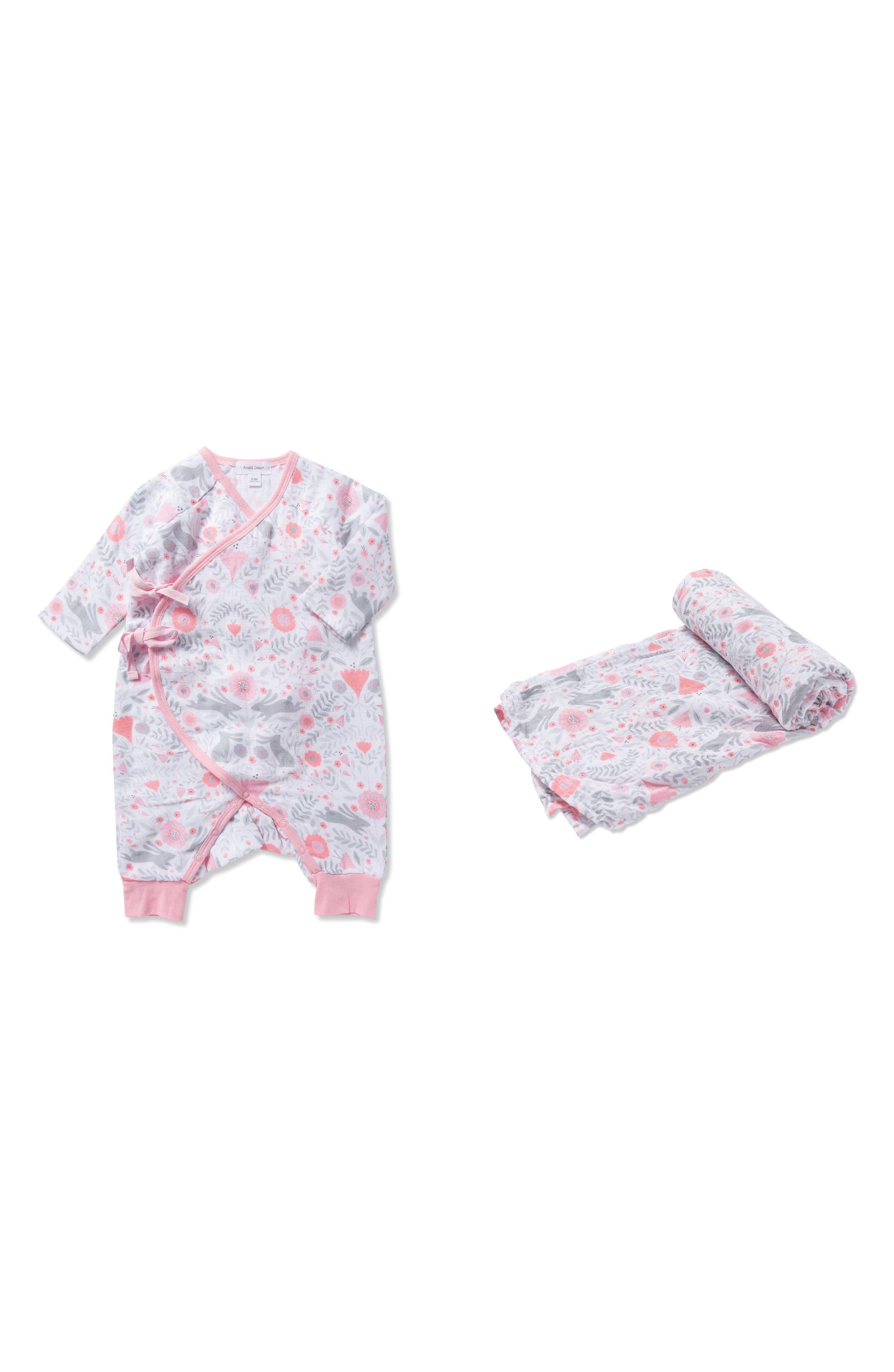 Bunny Print Romper & Swaddling Blanket Set,                             Main thumbnail 1, color,                             Pink/ Grey
