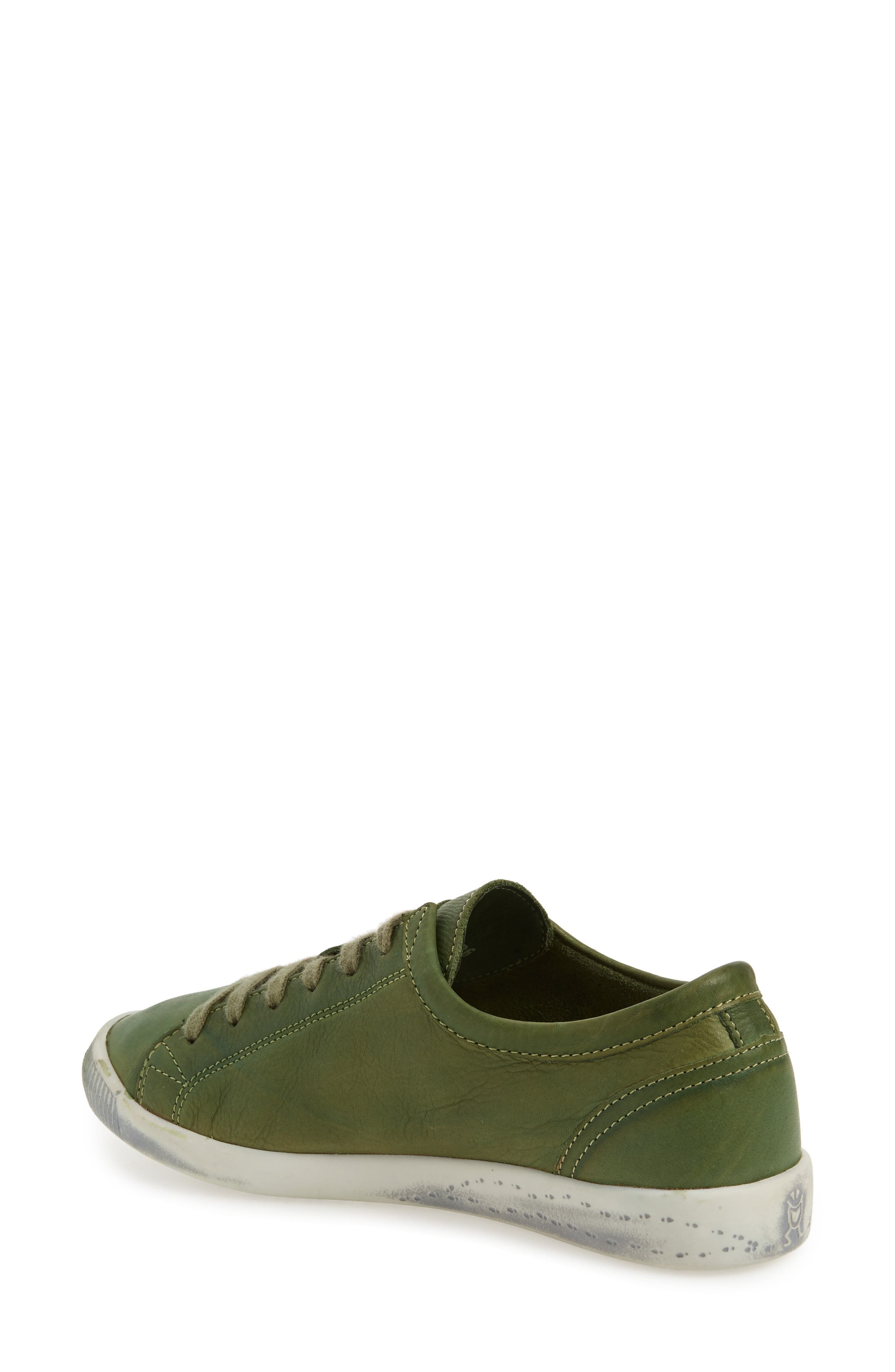 Isla Distressed Sneaker,                             Alternate thumbnail 2, color,                             Forest Green Washed Leather