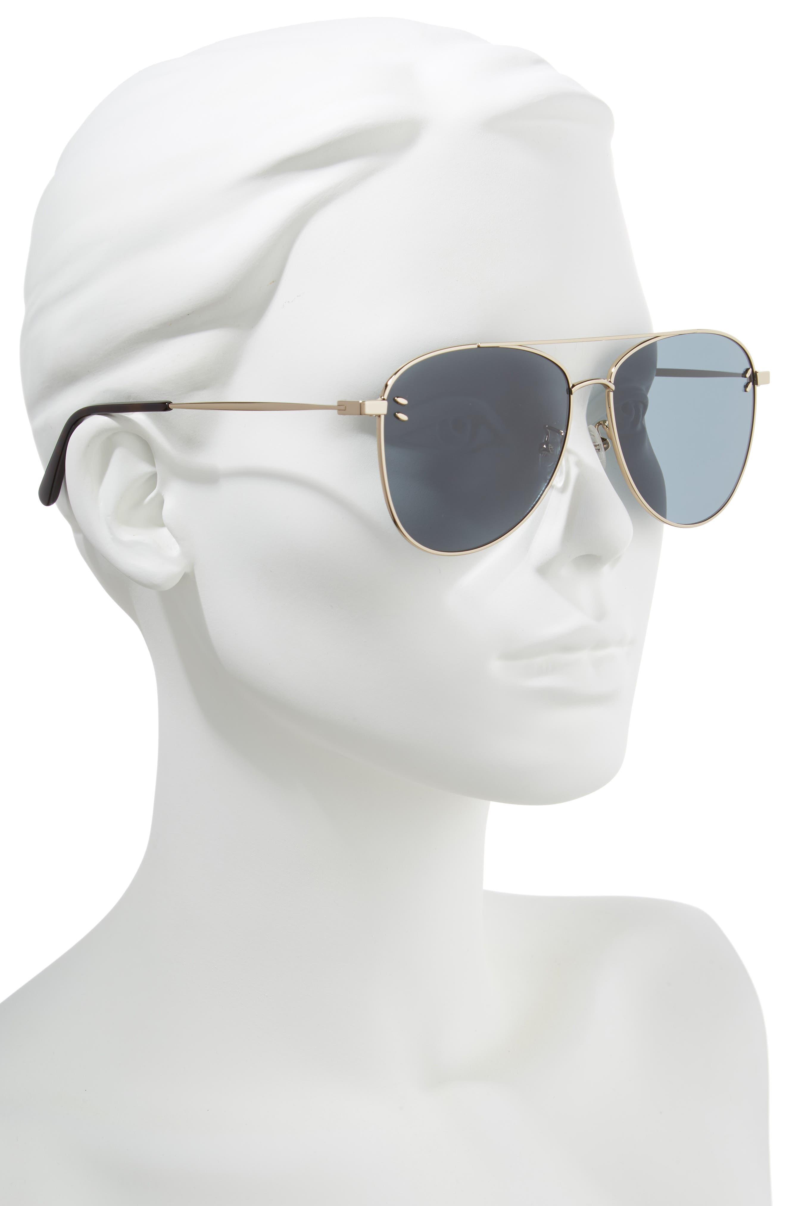 61mm Aviator Sunglasses,                             Alternate thumbnail 2, color,                             Gold