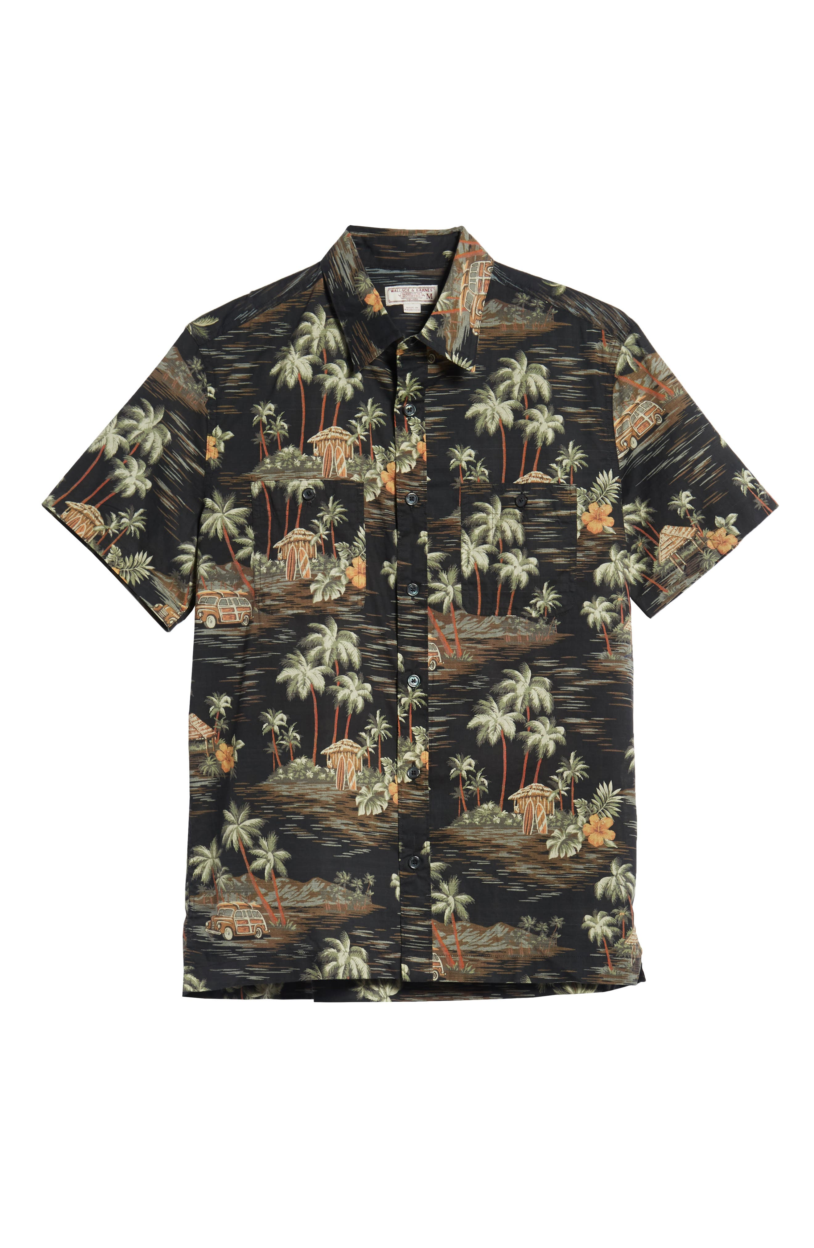 Wallace & Barnes Regular Fit Tropical Print Sport Shirt,                             Alternate thumbnail 6, color,                             Black Multi