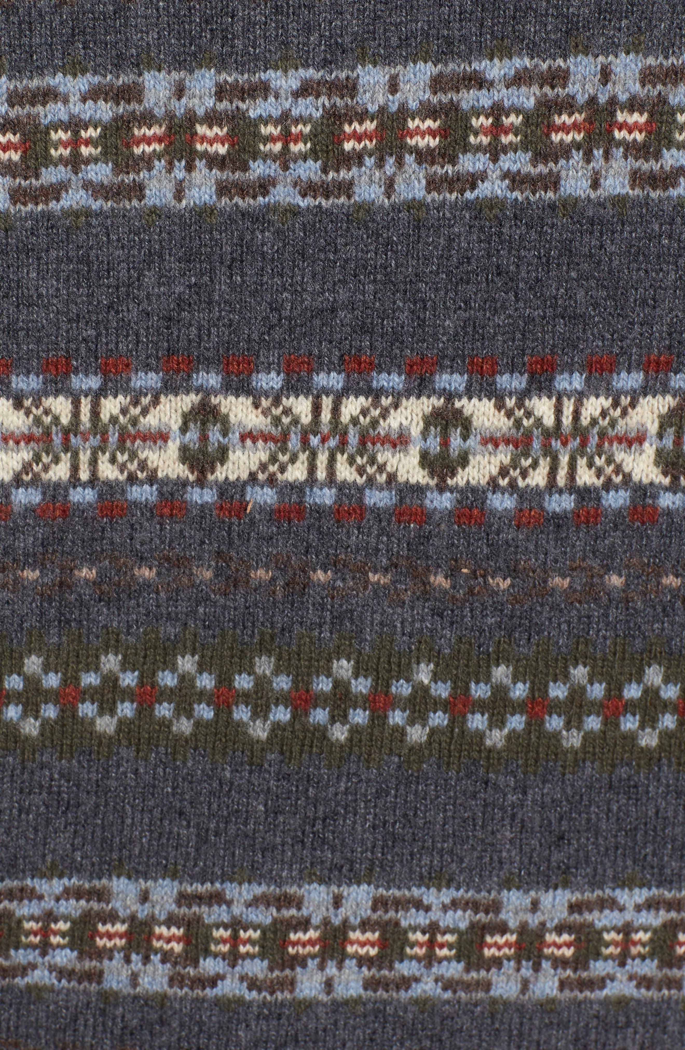 Mountainside Fair Isle Crewneck Sweater,                             Alternate thumbnail 4, color,                             Black