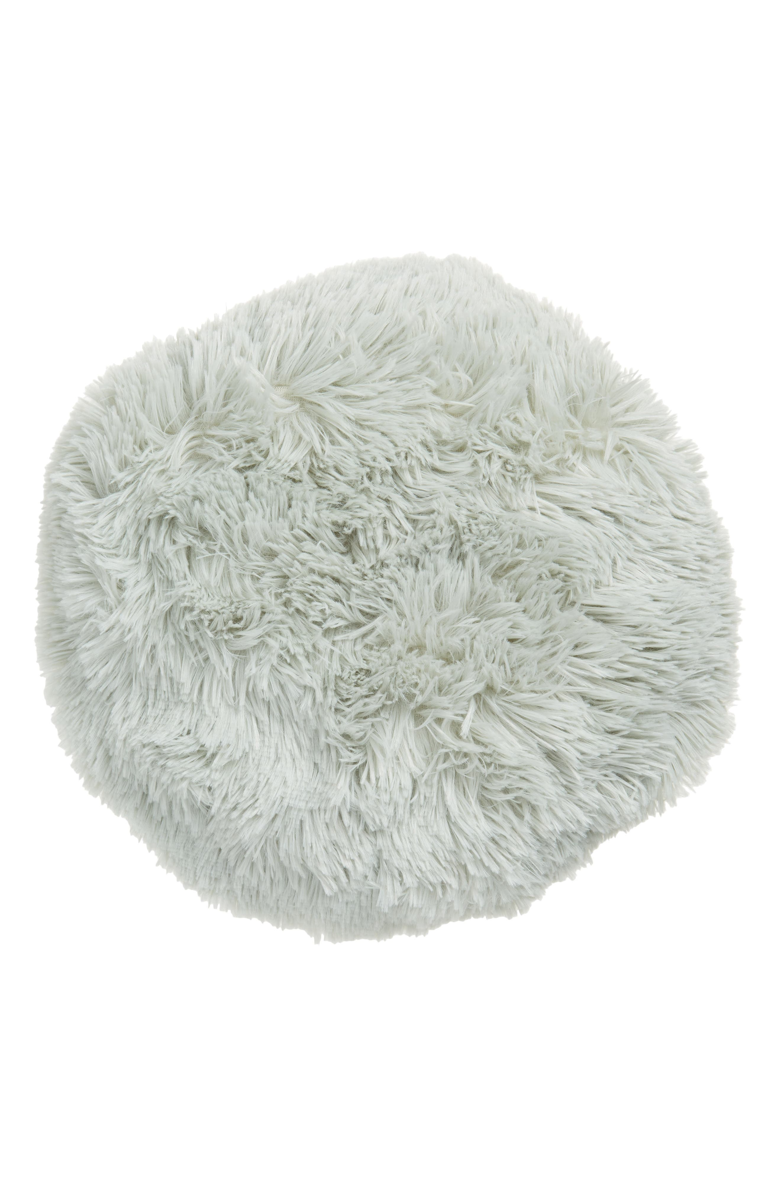 Feather Faux Fur Pillow,                         Main,                         color, Green Hush