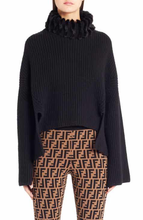 67598e69a1 Fendi Genuine Mink Fur Turtleneck Cashmere Sweater
