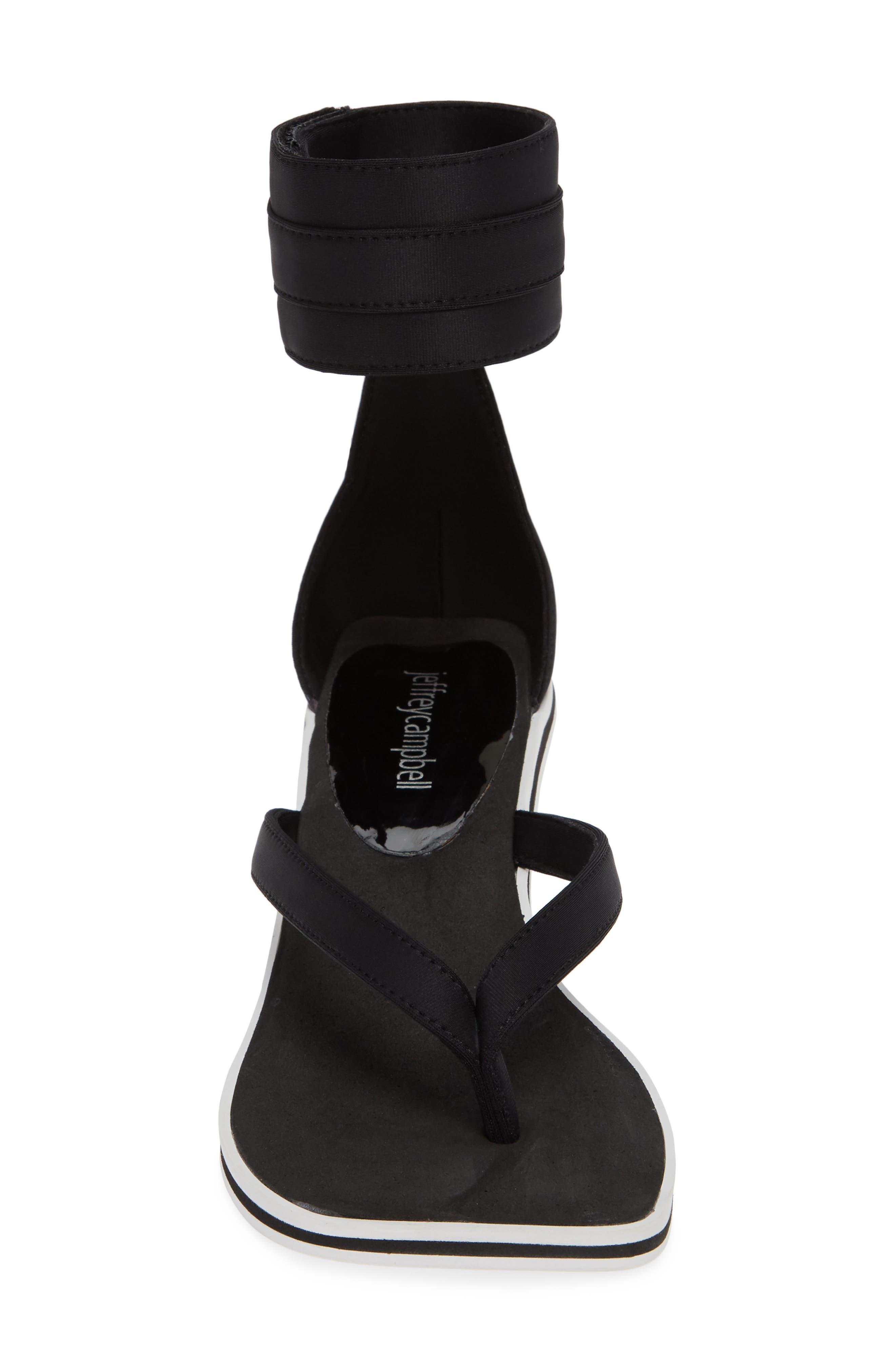 Dribble Cuff Pedestal Sandal,                             Alternate thumbnail 4, color,                             Black Neoprene White Fabric