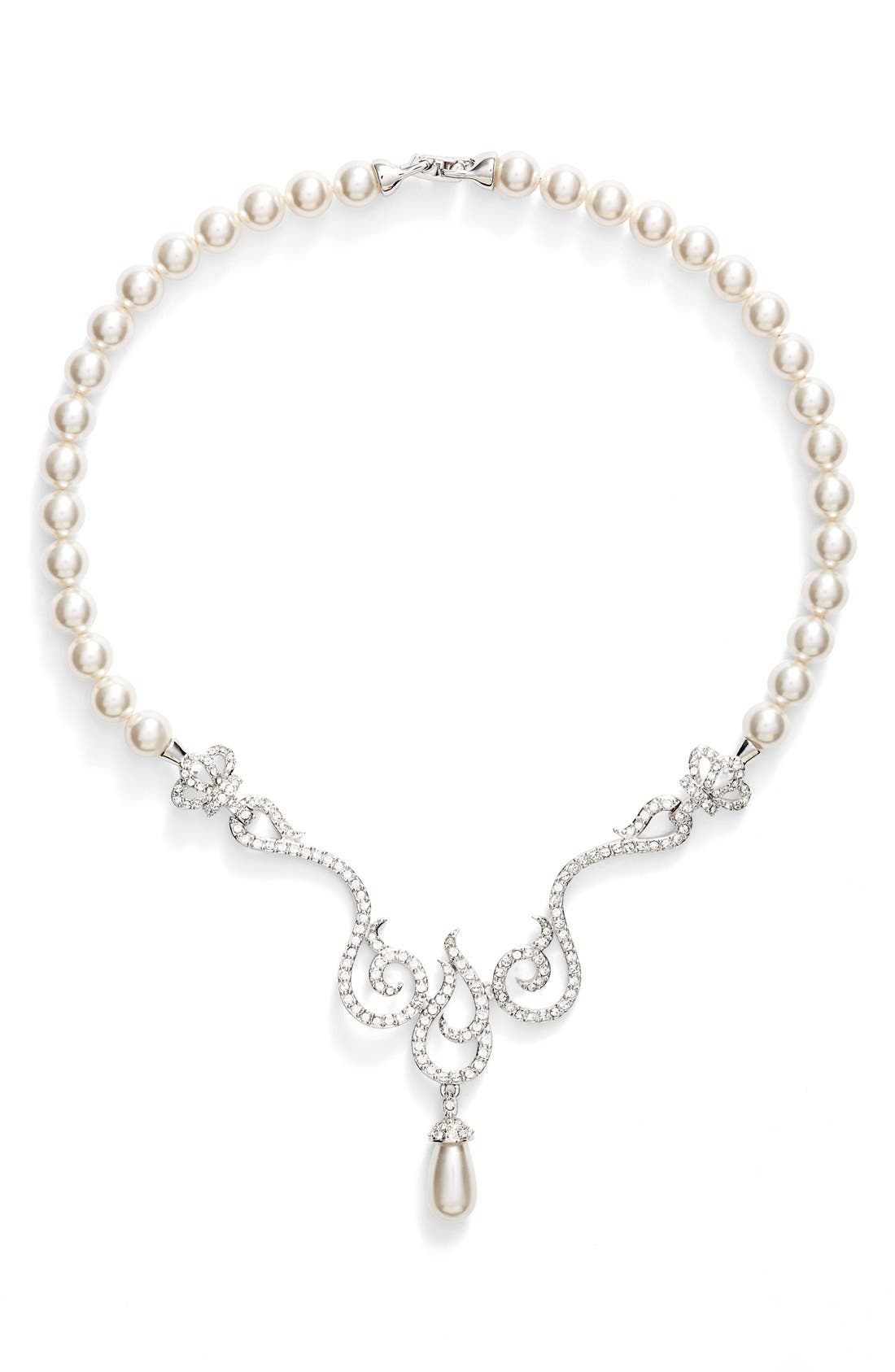 NINA Romantic Swarovski Crystal & Faux Pearl Frontal Necklace