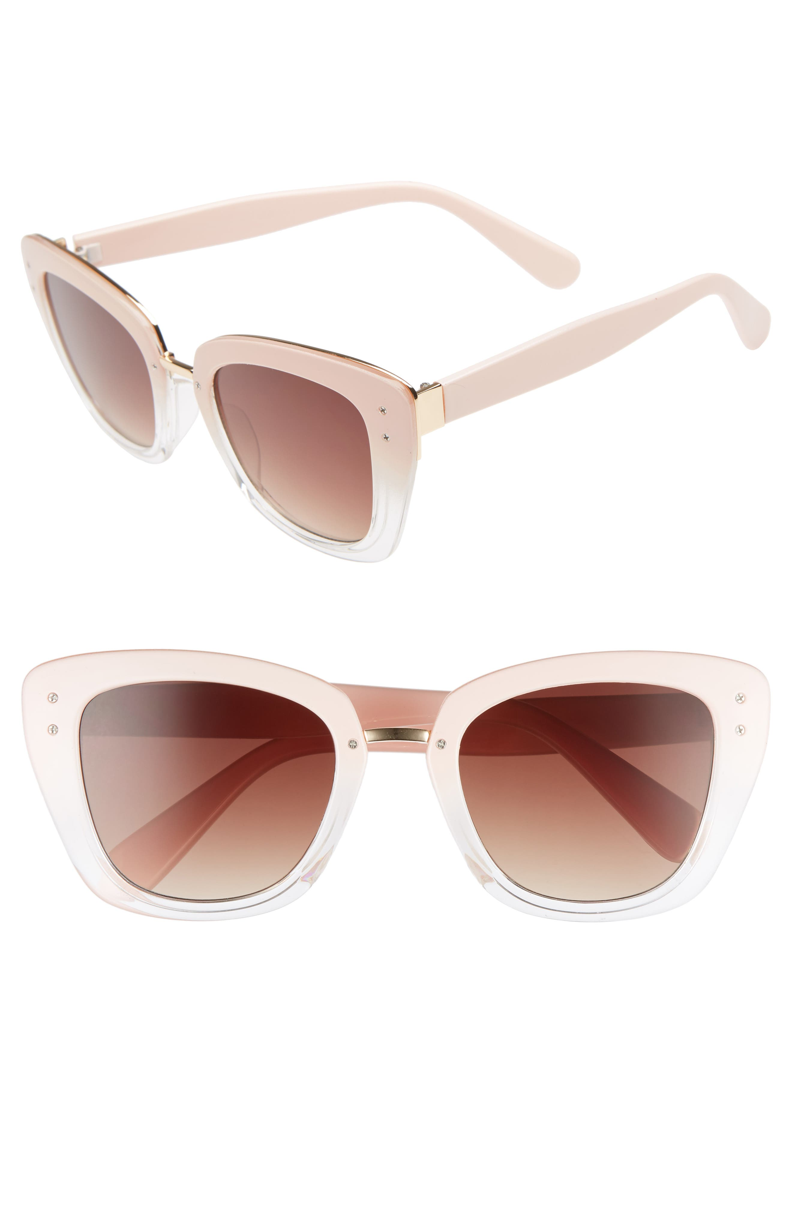 51mm Ombré Square Sunglasses,                         Main,                         color, Pink/ Clear