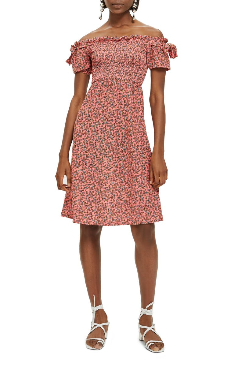 Smocked Ditzy Print Midi Dress