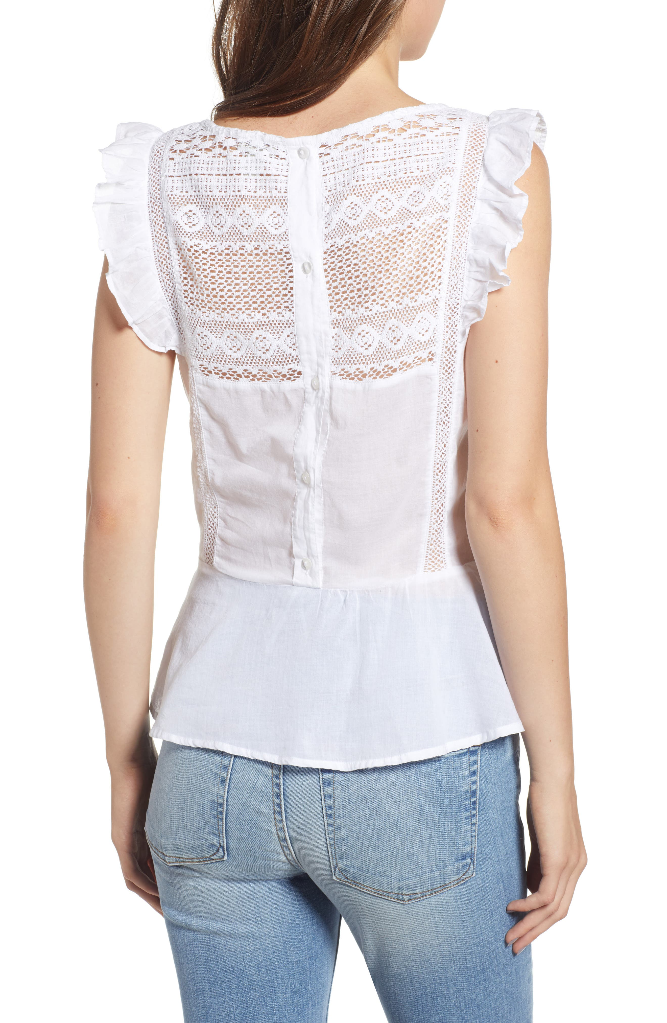 Mixed Lace Peplum Top,                             Alternate thumbnail 2, color,                             White