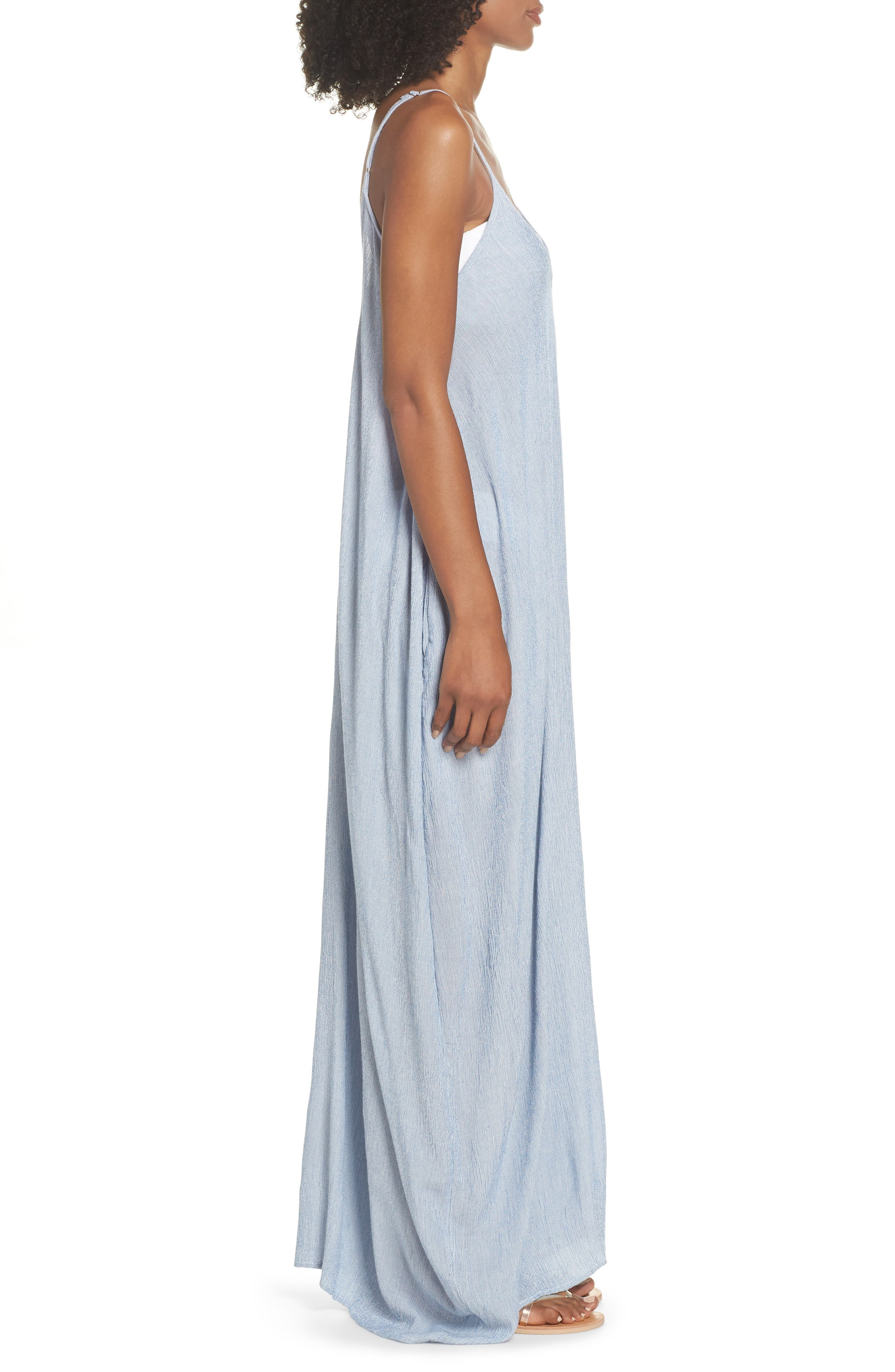 Cover-Up Maxi Dress,                             Alternate thumbnail 5, color,                             Blue Stripe