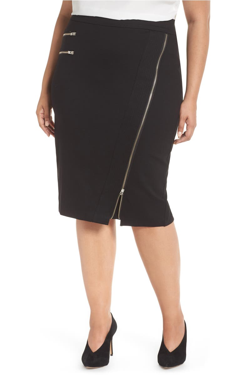 Zipper Detail Ponte Pencil Skirt,                         Main,                         color, Black