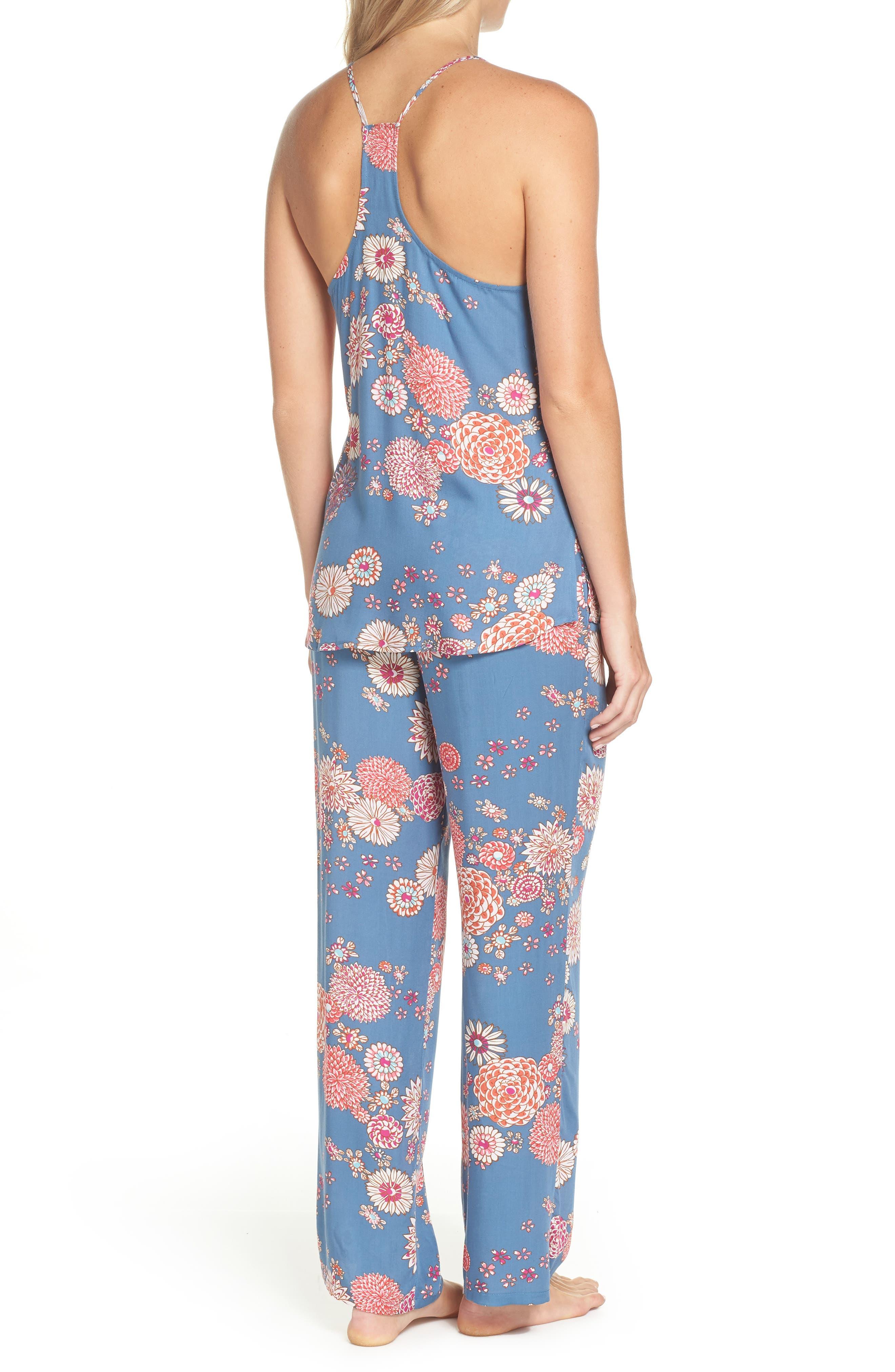 Floral Pajamas,                             Alternate thumbnail 2, color,                             Steallar Blue